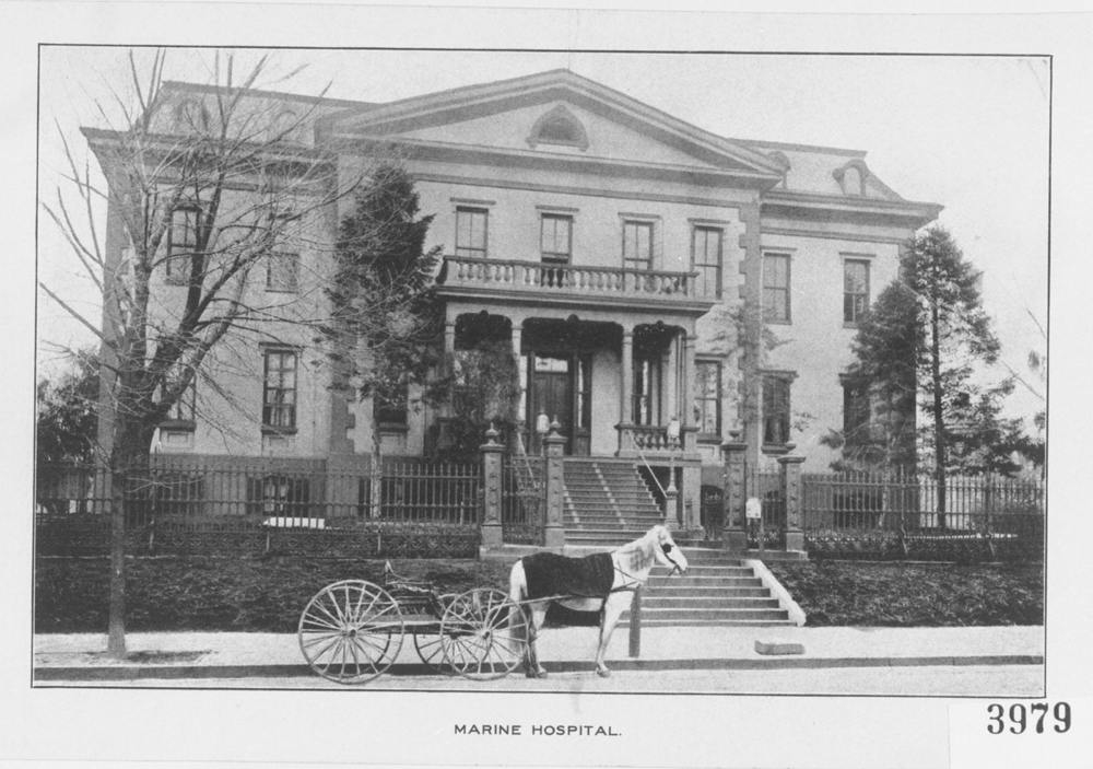 Circa 1900 - Horse-drawn carriage in front of the main entrance to the Naval Hospital, Washington City