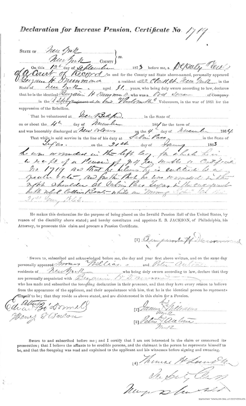 1873 Declaration for Increase of Pension in which Drummond is quoted as  stating that he believes he is entitled to a greater rate, as for the fact that  he was wounded in the right shoulder at Sabine Pass, Texas, in the engagement  with rebel Cotton Boats while on the Morning Light on the 21st Jan 1863. This is a  digital copy of the original record held by the National Archives.