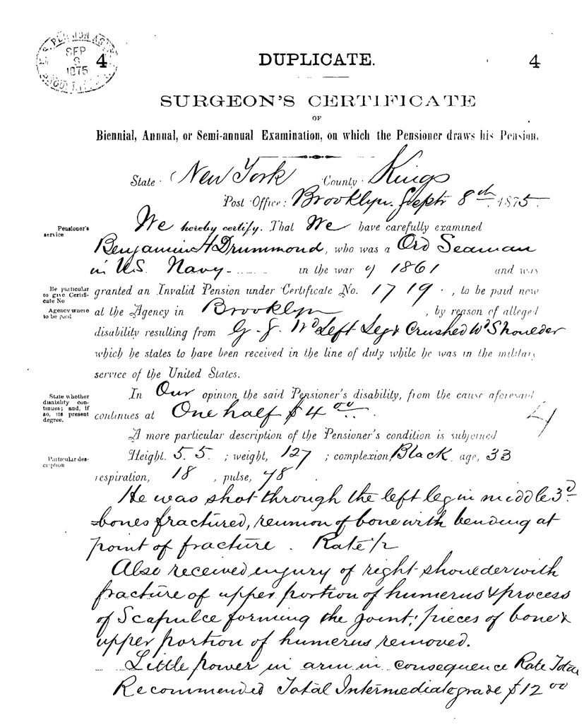 1875 Surgeon's Certificate of Pensioner Examination recommending a pension of $12.00 per  month.