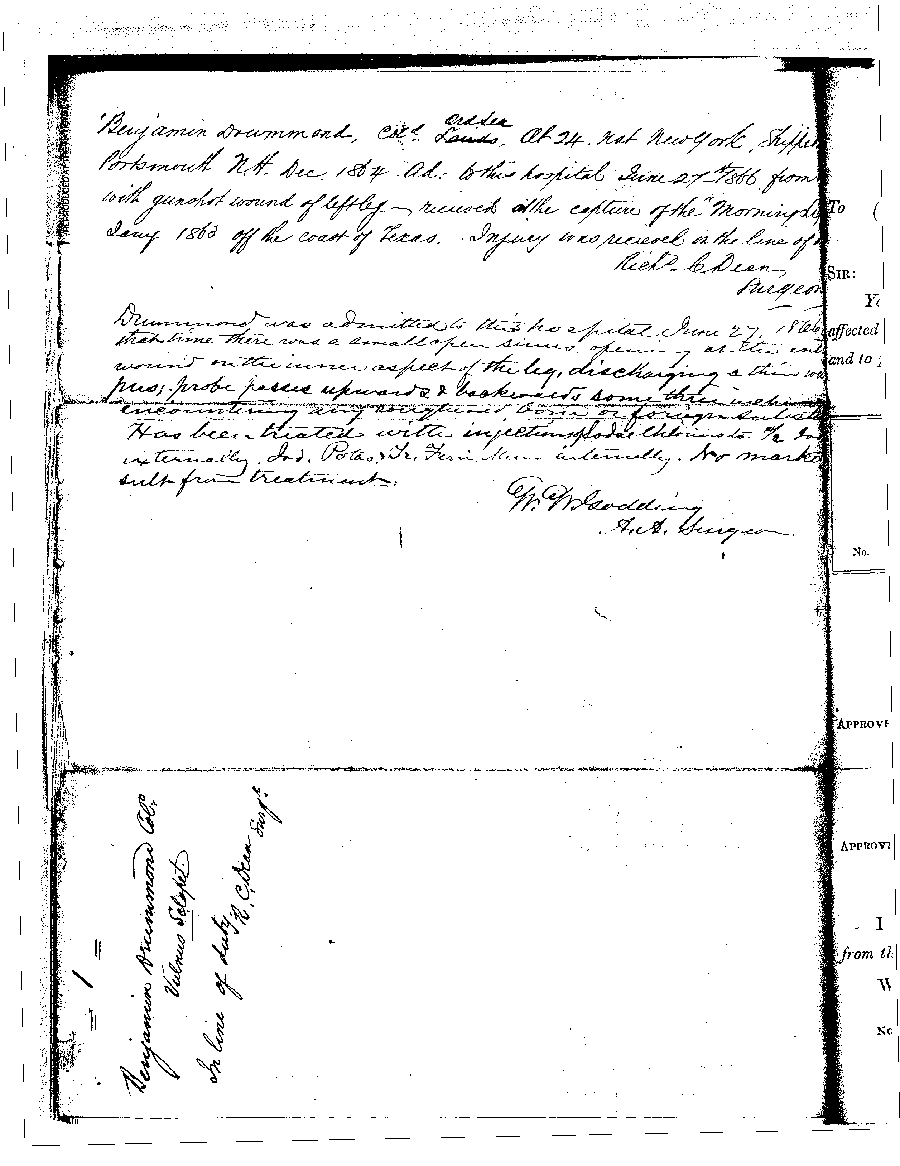 Second page of the Hospital Admitting Ticket for Benjamin Drummond, the first patient  admitted into  the Naval Hospital, Washington City, when it opened on October 1, 1866.