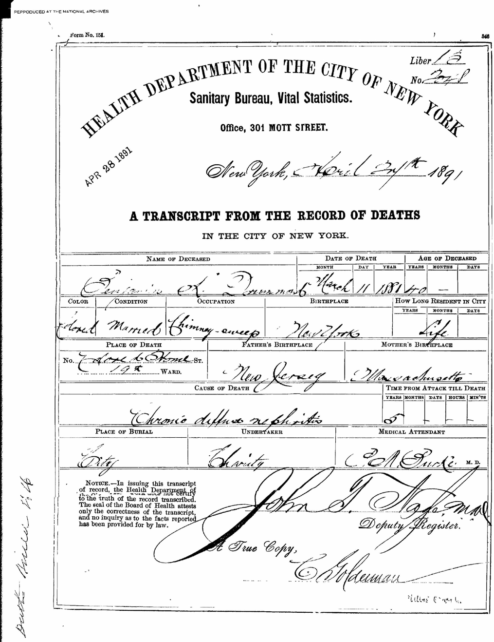 The Death Certificate for Benjamin Drummond, the first patient admitted into the Naval Hospital, Washington City, when it opened on October 1, 1866.
