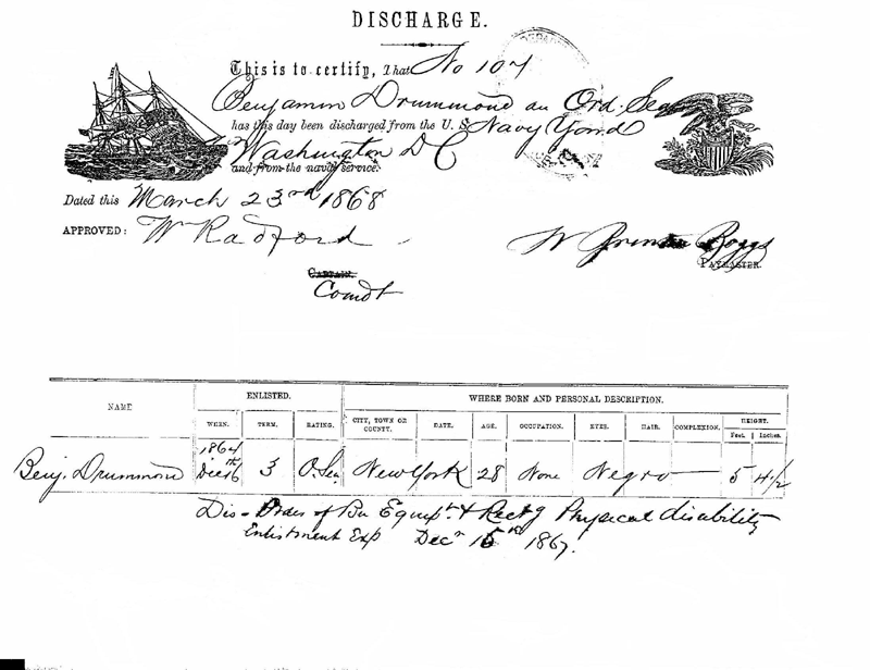 On March 23, 1868, Benjamin Drummond was discharged from the U.S. Navy.  This is a digital copy of the original record held bythe National Archives.