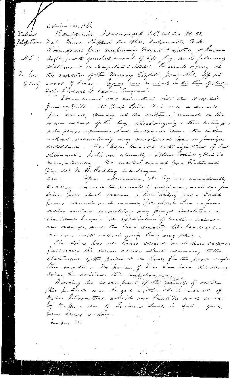 This is the first of three pages detailing the treatment received by Benamin Drummond,  the first patient admitted into the Naval Hospital, Washington City, when it opened on  October 1, 1866. He was discharged from the Navy and the Hospital on March 23, 1868.  The National Archives holds the records of patients admitted and treated at the Naval  Hospital, Washington City, from 1866 to 1906 in Record Group 52, logs of hospitals,  1861-1875 (11W3 3-29-D)
