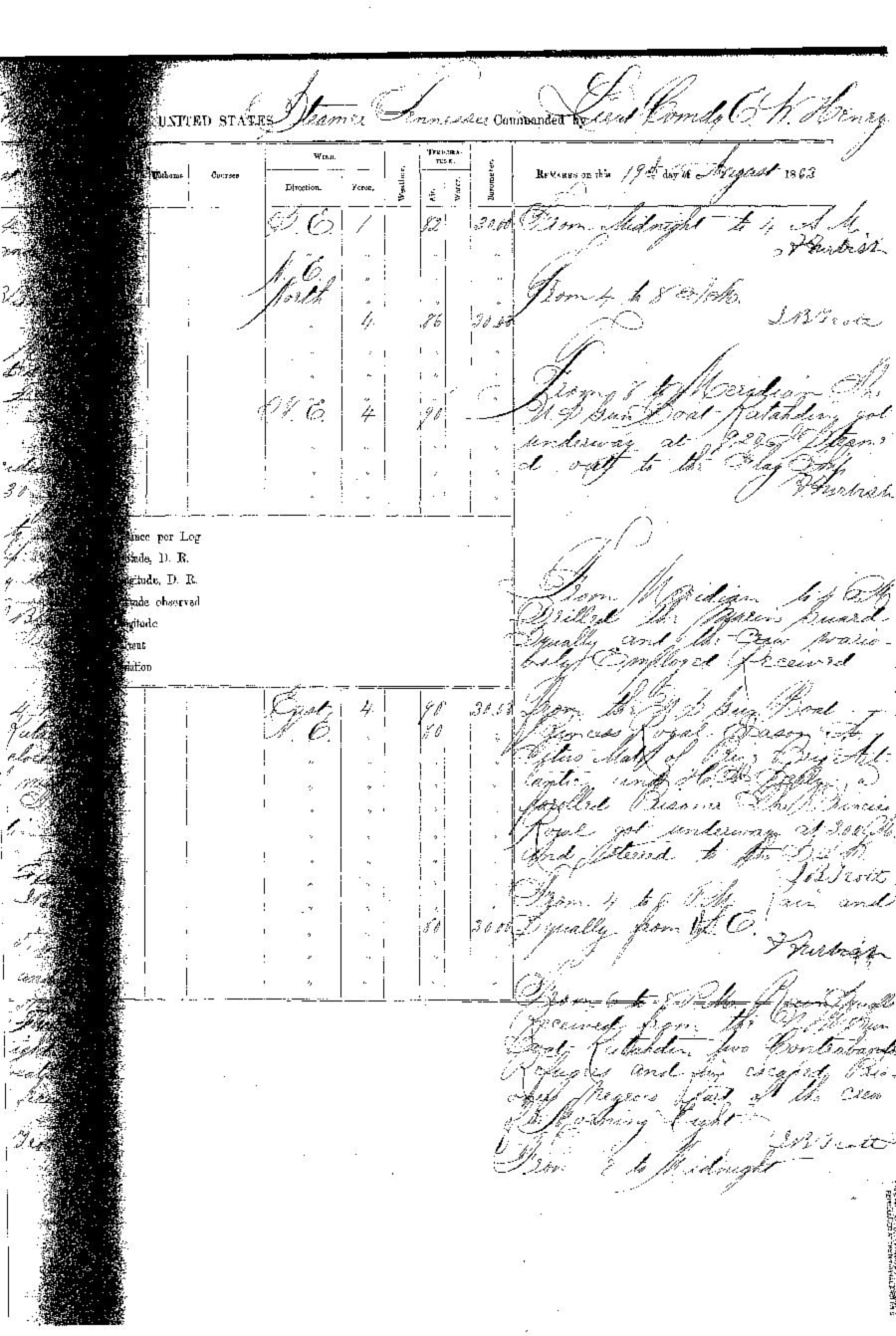 On August 19, 1863, having somehow escaping from his Confederate captors, Benjamin  Drummond rowed out into the Gulf of Mexico and was taken aboard the USS Gunboat Katahdin, and  was promptly transferred to the transport USS Tennessee. The logbook of the Tennessee  noted that Drummond was one of the  former crewmembers of the  U.S.S. Morning Light, that had been captured and burned  some months since.