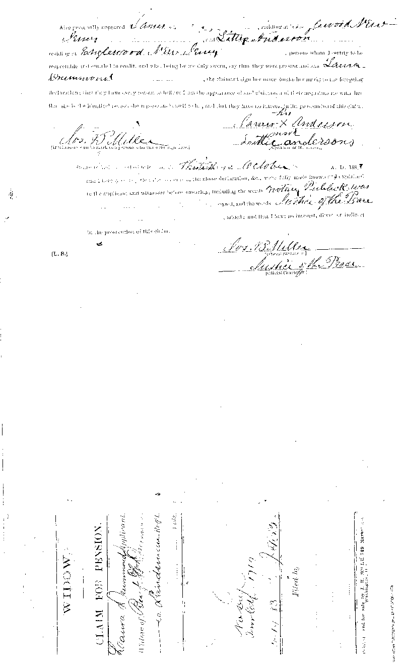 Laura Drummond filed this Widow's Declaration for Pension or Increase of Pension on  October 30, 1883. In it she states that her maiden name was Laura Berkely, and had married  Benjamin Drummond on April 15, 1860 in Richmond, Virginia. She also states that they had  a son, named Benjamin W. Drummond, born May 14, 1876, who was at the time of the filing  of this Declaration Under the personal care of relatives, Funds for maintenance furnished  by applicant. Laura Drummond also states that she had previously filed claims on March 19,  1883 and in April, 1883. This is a digital copy of the original record held by the  National Archives.