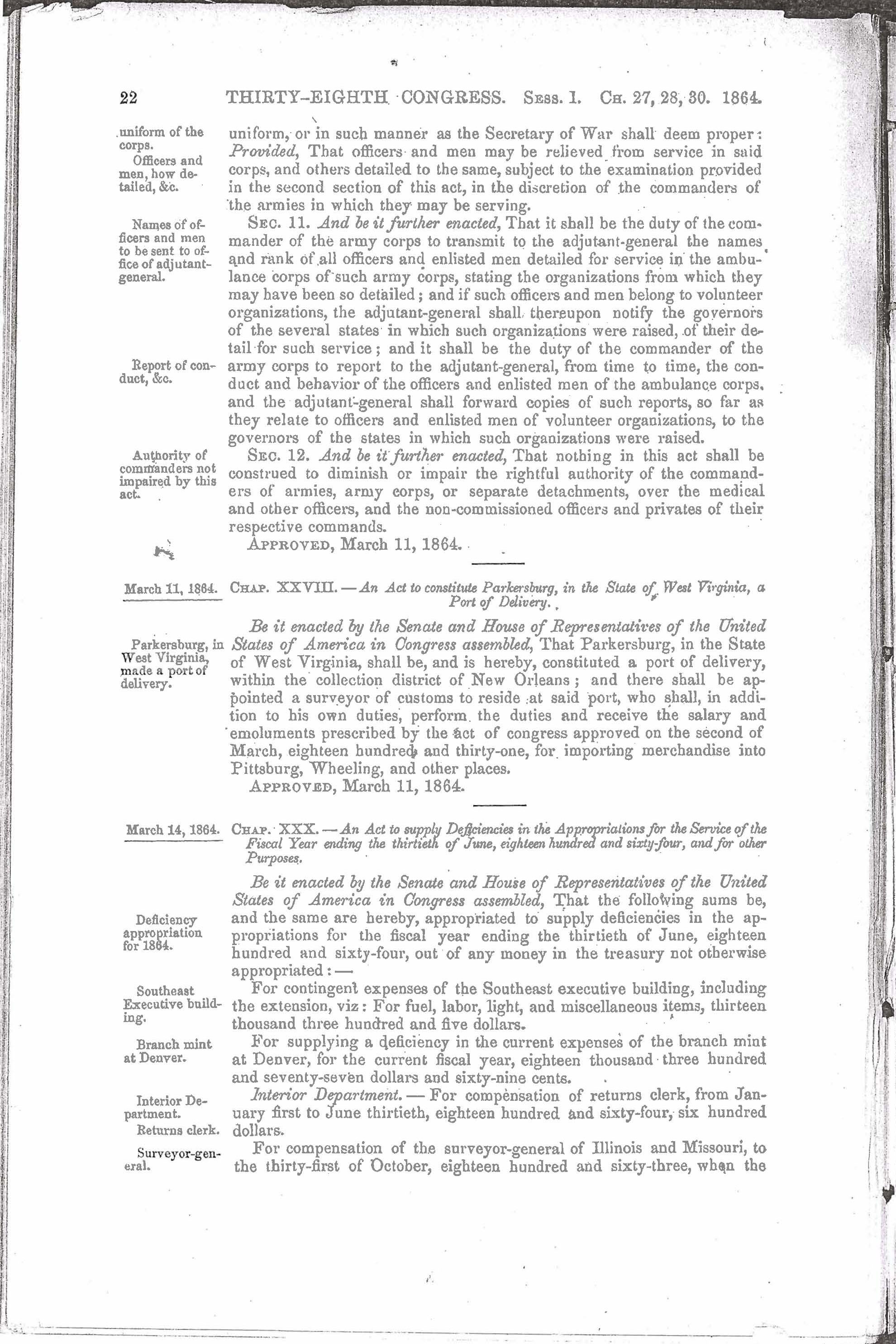 Act of Congress Authorizing Construction of the Washington Naval  Hospital, Page 1 of 7