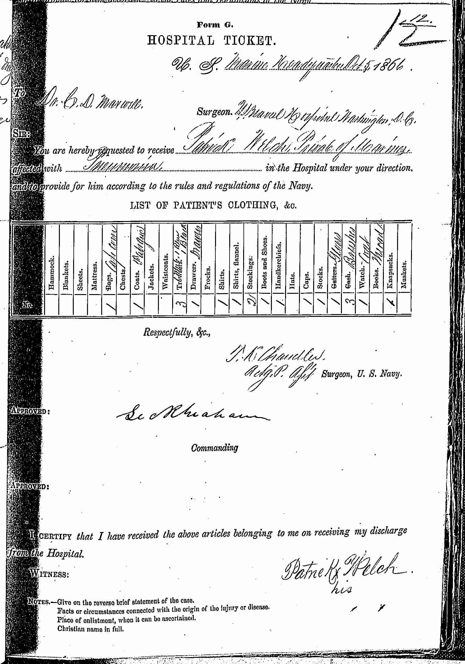 Entry for Patrick Welch (page 1 of 2) in the log Hospital Tickets and Case Papers - Naval Hospital - Washington, D.C. - 1865-68