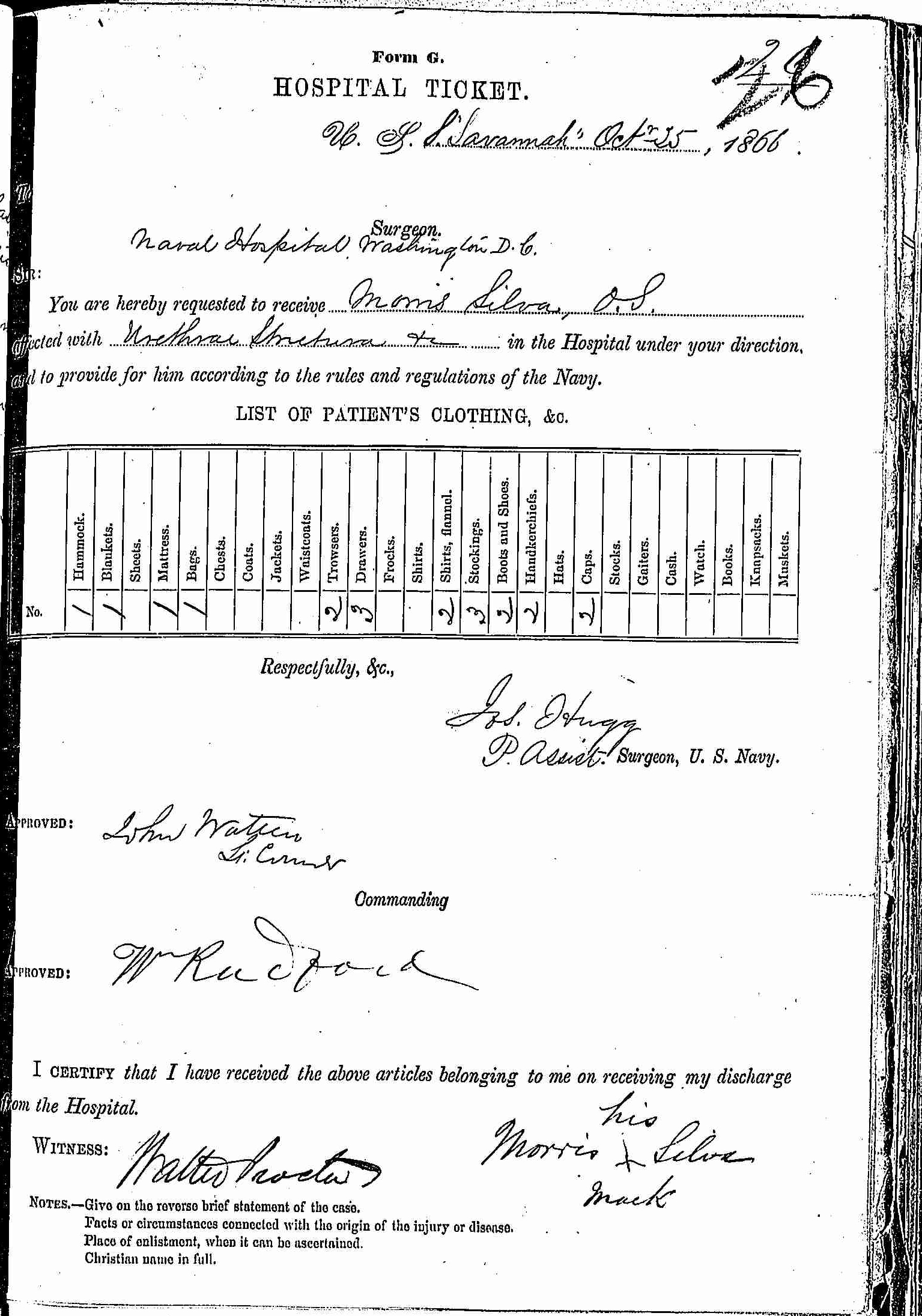 Entry for Morris Silva (page 1 of 2) in the log Hospital Tickets and Case Papers - Naval Hospital - Washington, D.C. - 1865-68