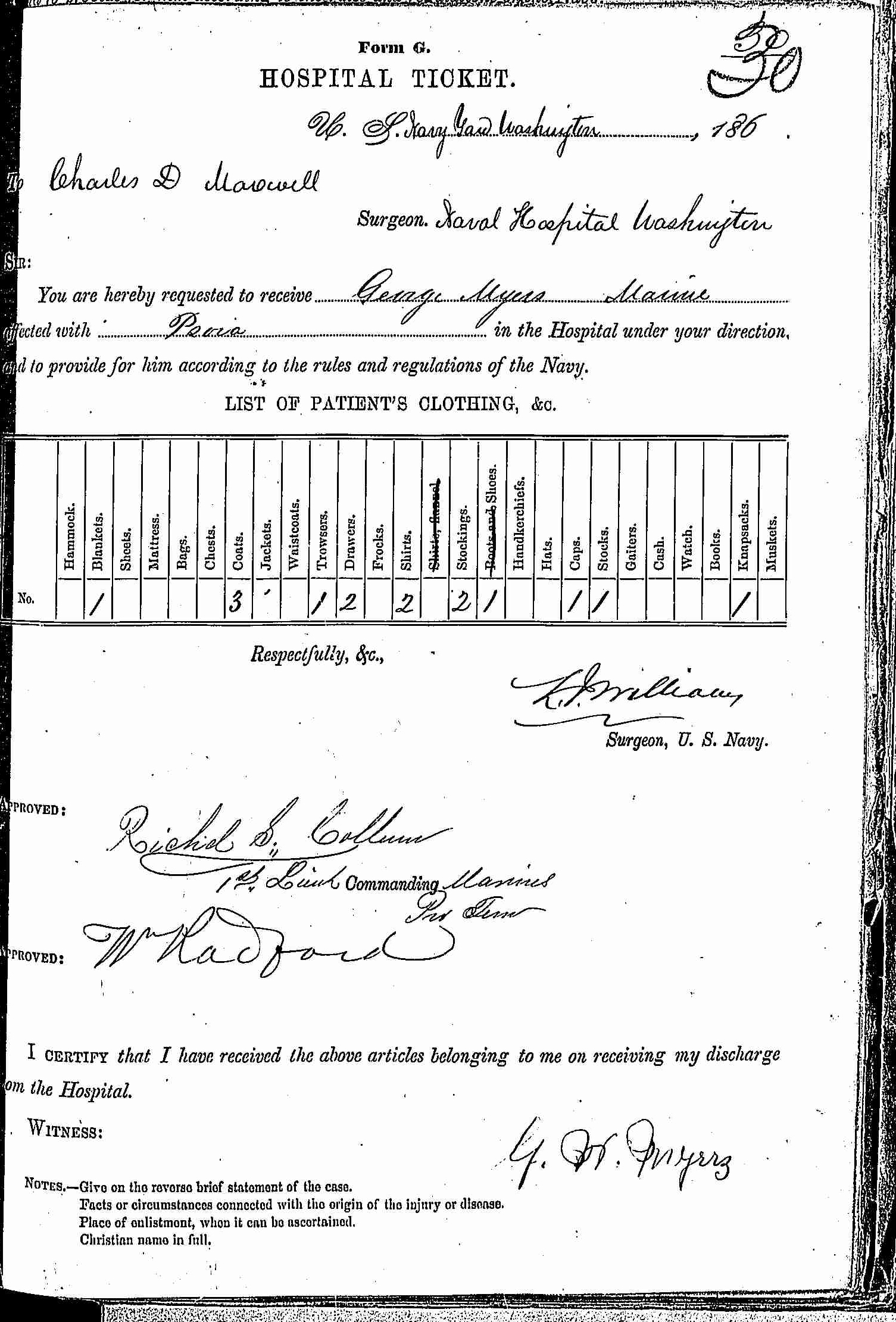 Entry for George Myers (page 1 of 2) in the log Hospital Tickets and Case Papers - Naval Hospital - Washington, D.C. - 1865-68
