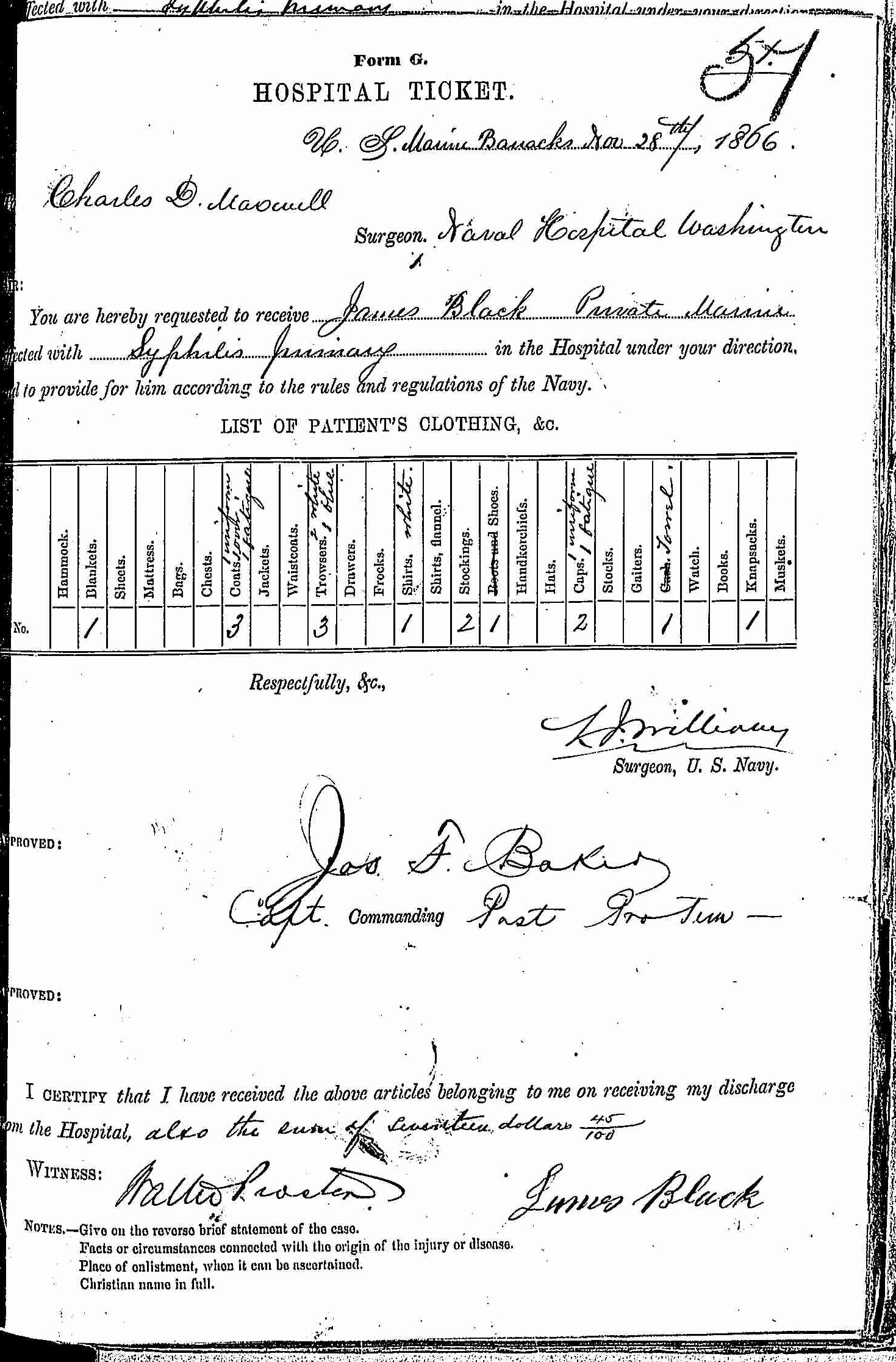 Entry for James Black (page 1 of 2) in the log Hospital Tickets and Case Papers - Naval Hospital - Washington, D.C. - 1865-68