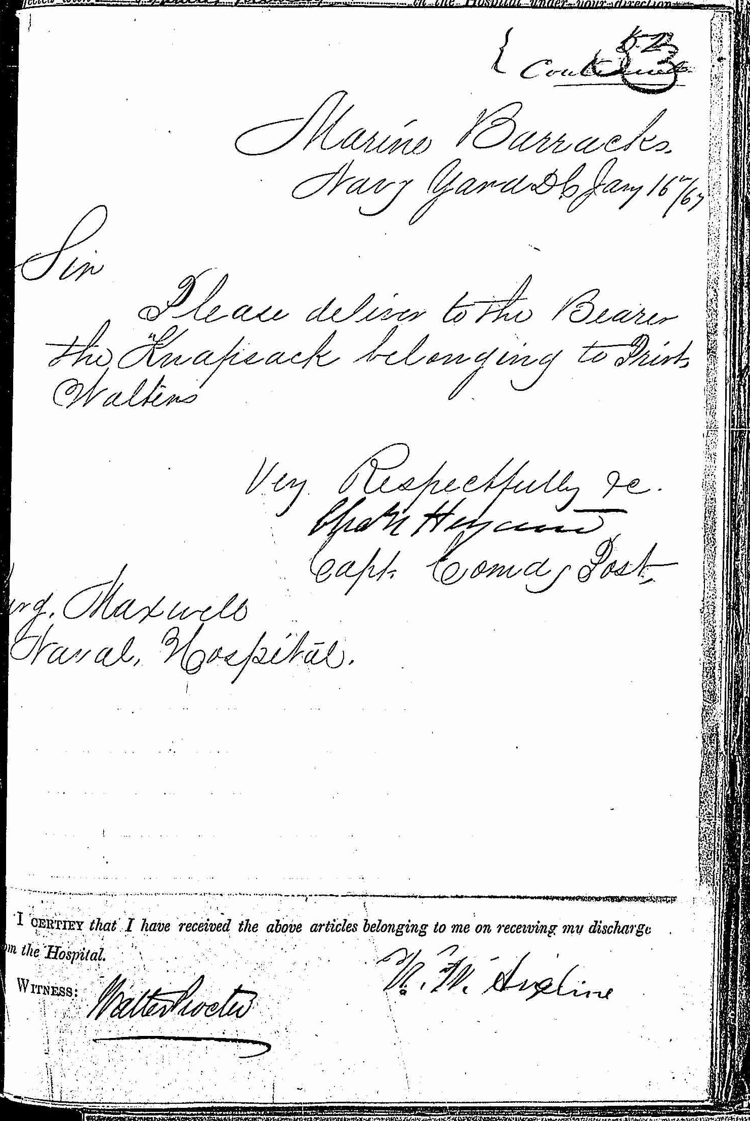 Entry for Edward Walters (first admission page 3 of 4) in the log Hospital Tickets and Case Papers - Naval Hospital - Washington, D.C. - 1865-68