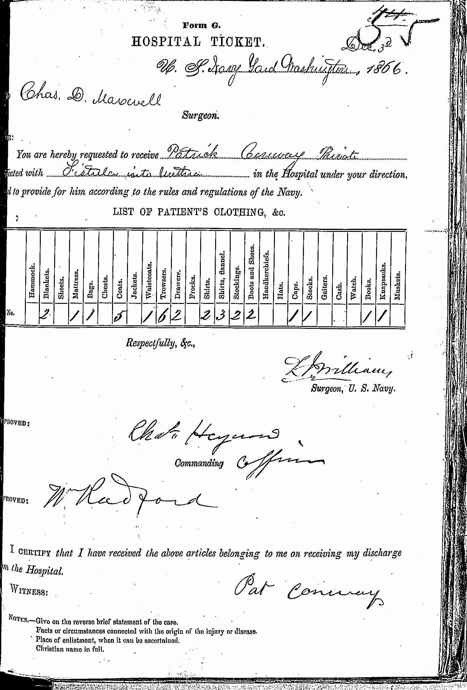 Entry for Patrick Conway (page 1 of 2) in the log Hospital Tickets and Case Papers - Naval Hospital - Washington, D.C. - 1865-68