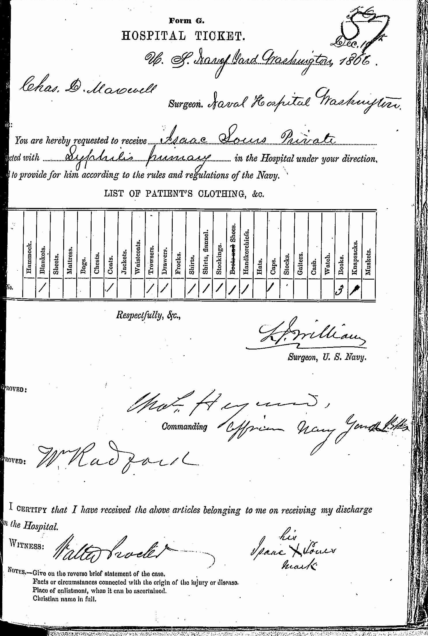 Entry for Isaac Sours (first admission page 1 of 2) in the log Hospital Tickets and Case Papers - Naval Hospital - Washington, D.C. - 1865-68
