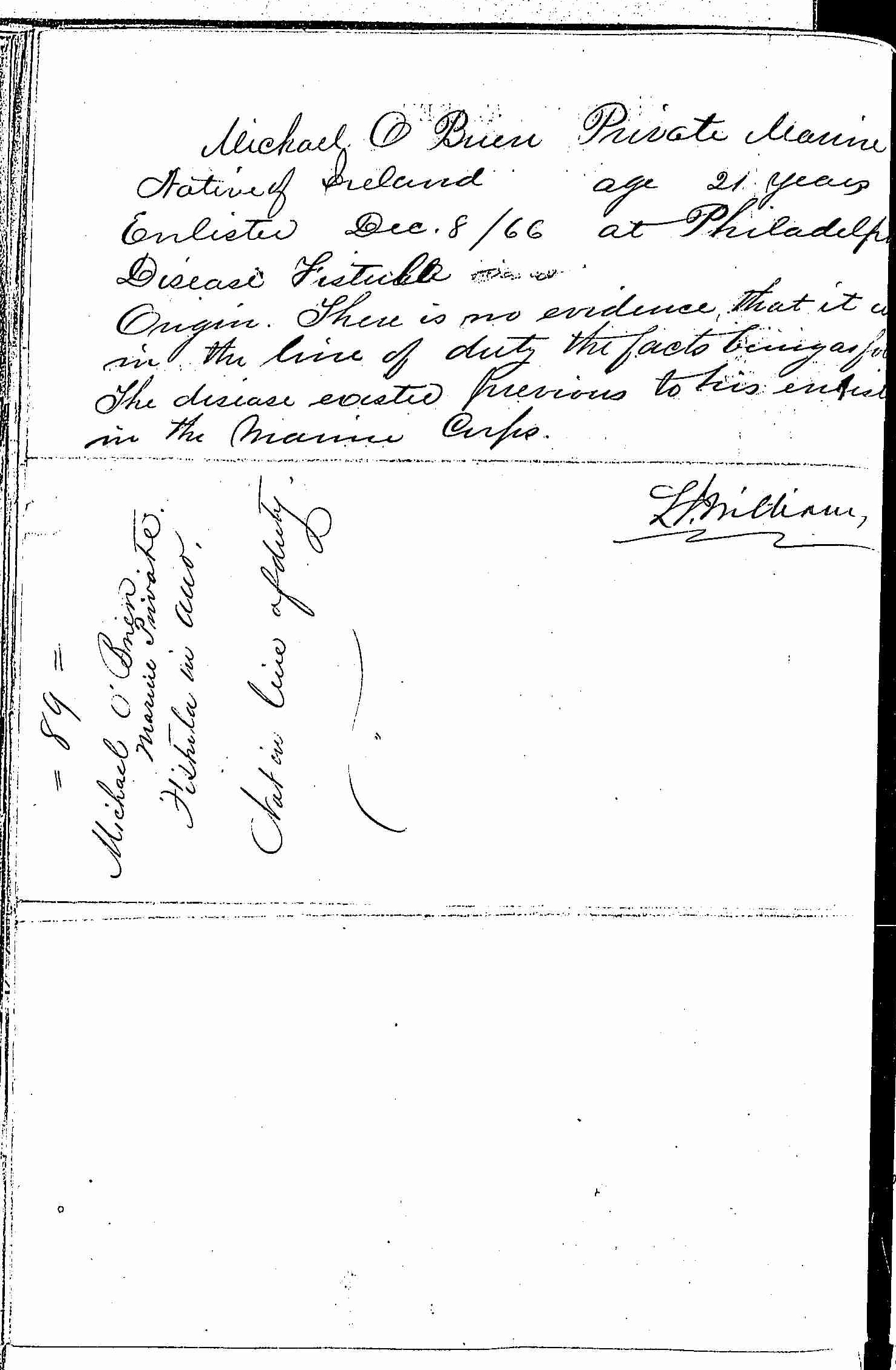 Entry for Michael O'Brien (page 2 of 2) in the log Hospital Tickets and Case Papers - Naval Hospital - Washington, D.C. - 1865-68