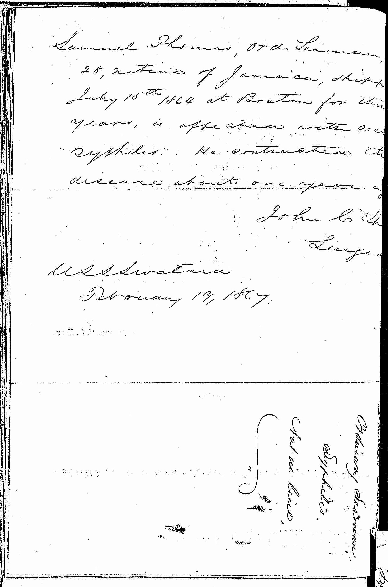 Entry for Samuel Thomas (page 2 of 2) in the log Hospital Tickets and Case Papers - Naval Hospital - Washington, D.C. - 1866-68