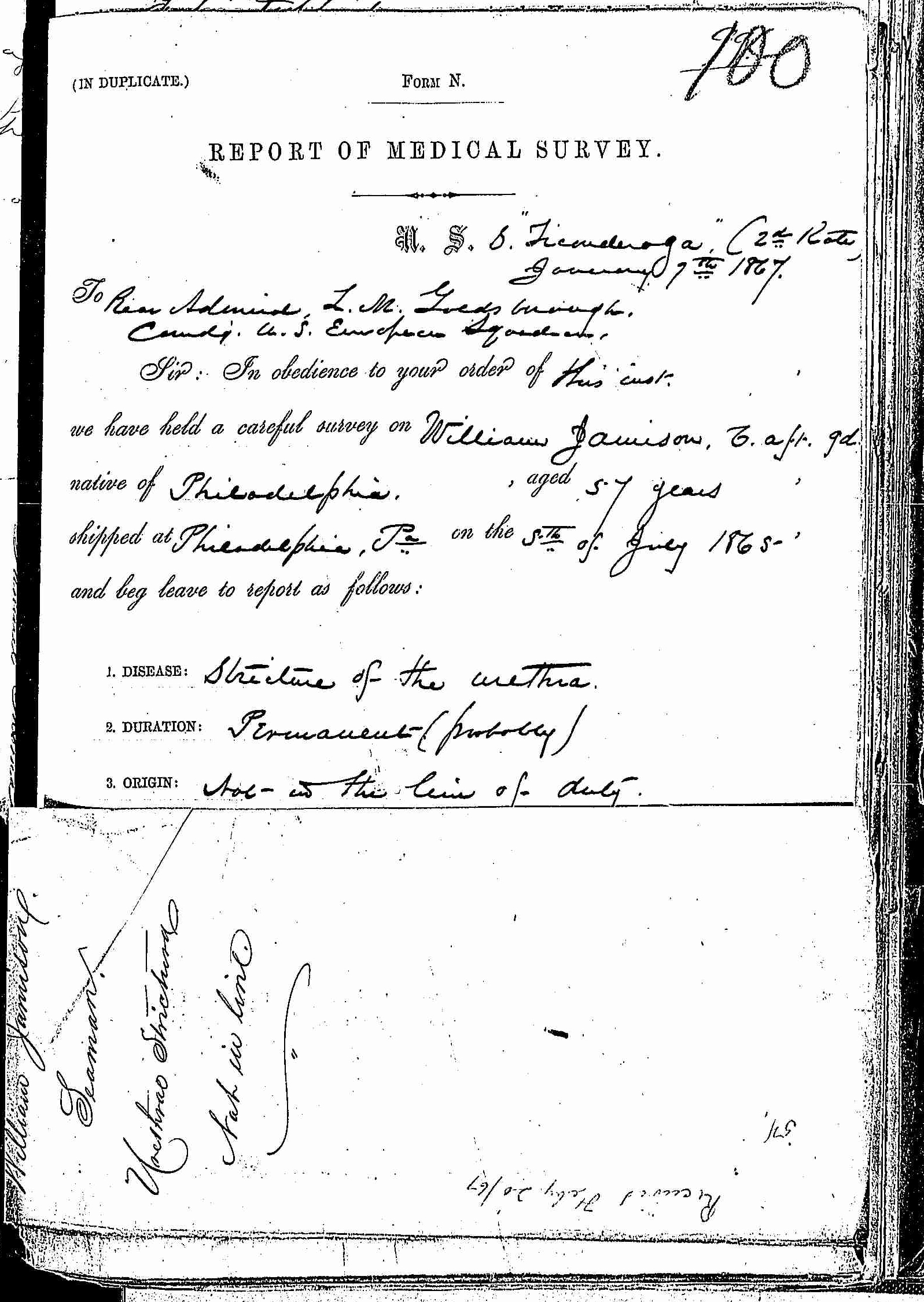 Entry for William Jamison (page 1 of 5) in the log Hospital Tickets and Case Papers - Naval Hospital - Washington, D.C. - 1866-68