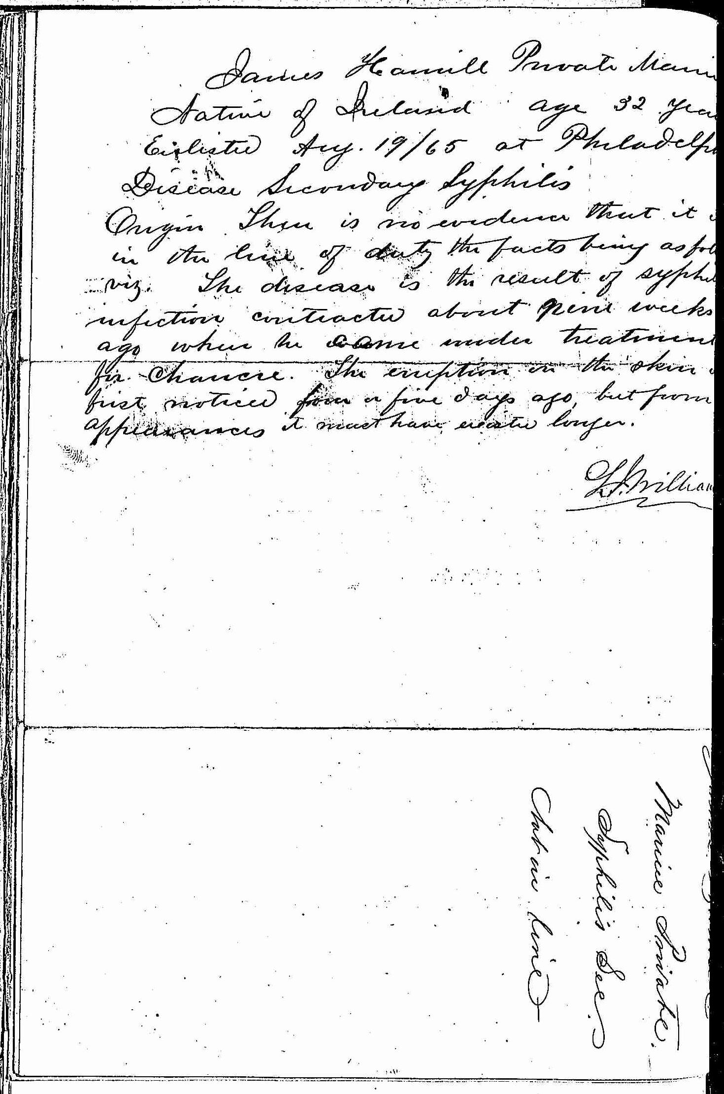 Entry for James Hamill (page 2 of 2) in the log Hospital Tickets and Case Papers - Naval Hospital - Washington, D.C. - 1866-68