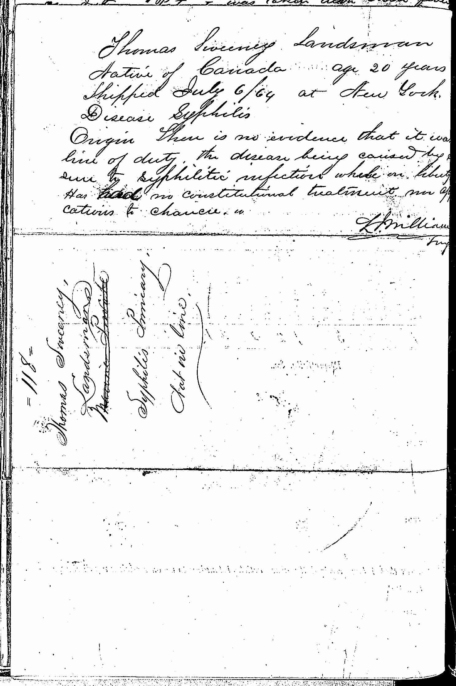 Entry for Thomas Sweeney (page 2 of 2) in the log Hospital Tickets and Case Papers - Naval Hospital - Washington, D.C. - 1866-68