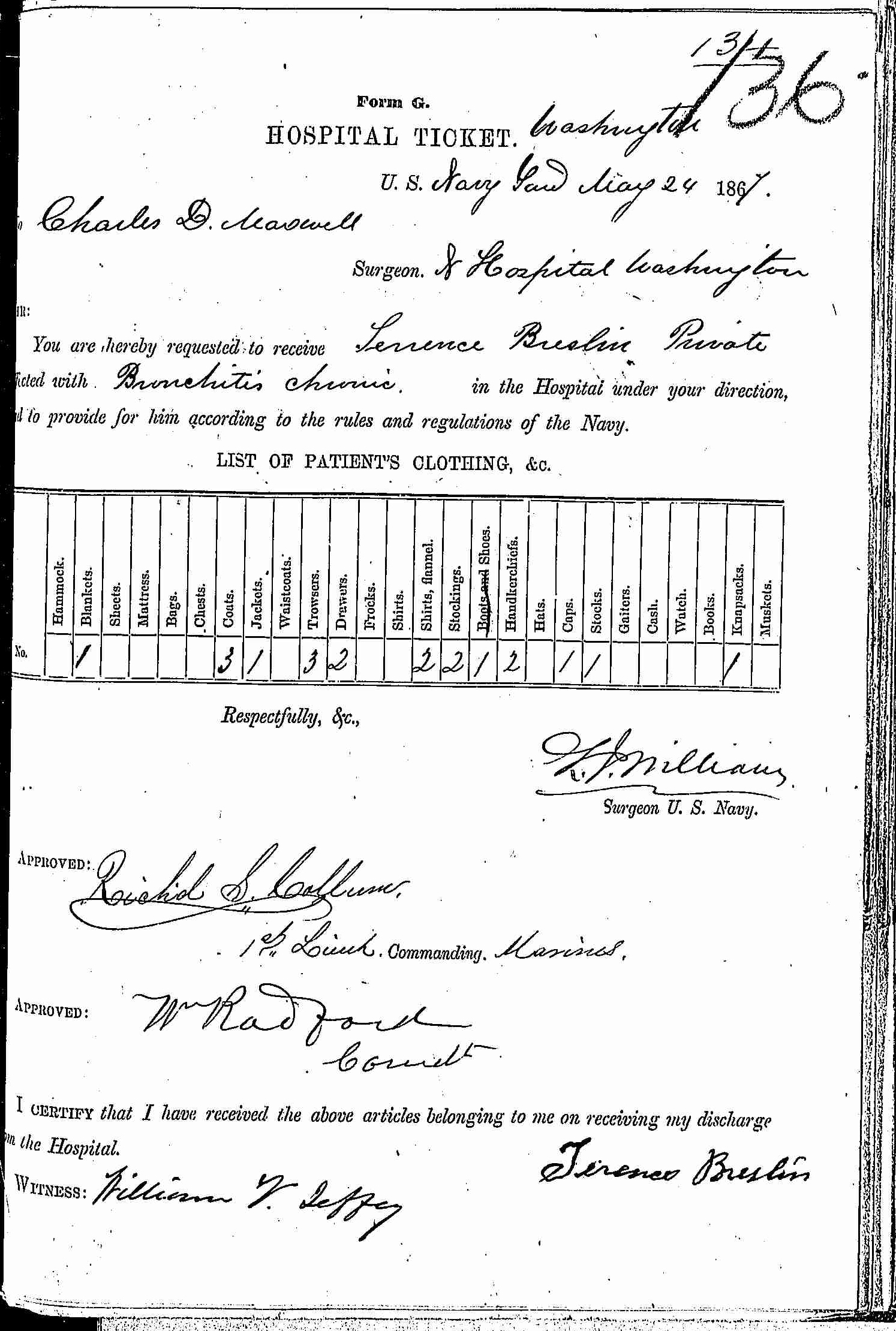 Entry for Terrence Breslin (first admission page 1 of 2) in the log Hospital Tickets and Case Papers - Naval Hospital - Washington, D.C. - 1866-68