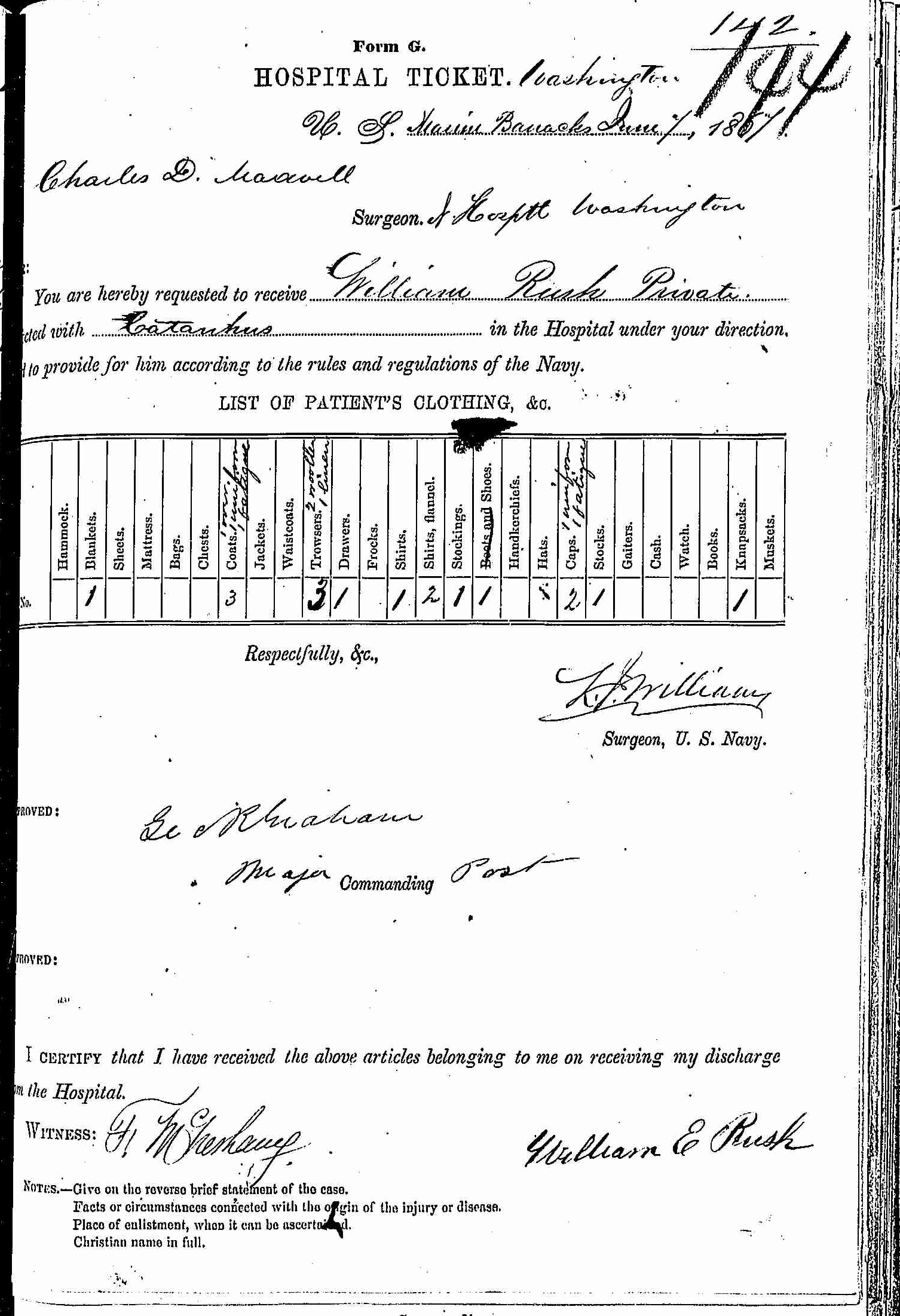 Entry for William Rush (page 1 of 2) in the log Hospital Tickets and Case Papers - Naval Hospital - Washington, D.C. - 1866-68