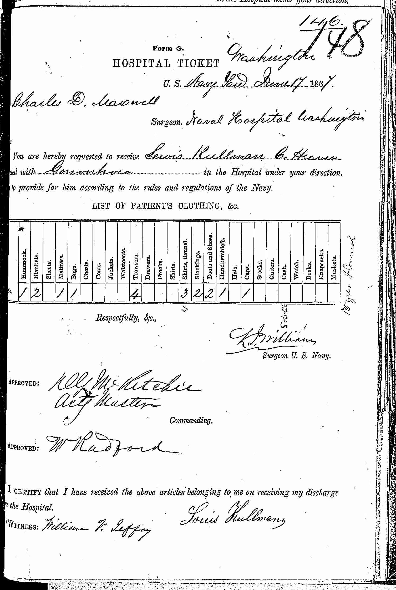 Entry for Lewis Kellman (page 1 of 2) in the log Hospital Tickets and Case Papers - Naval Hospital - Washington, D.C. - 1866-68