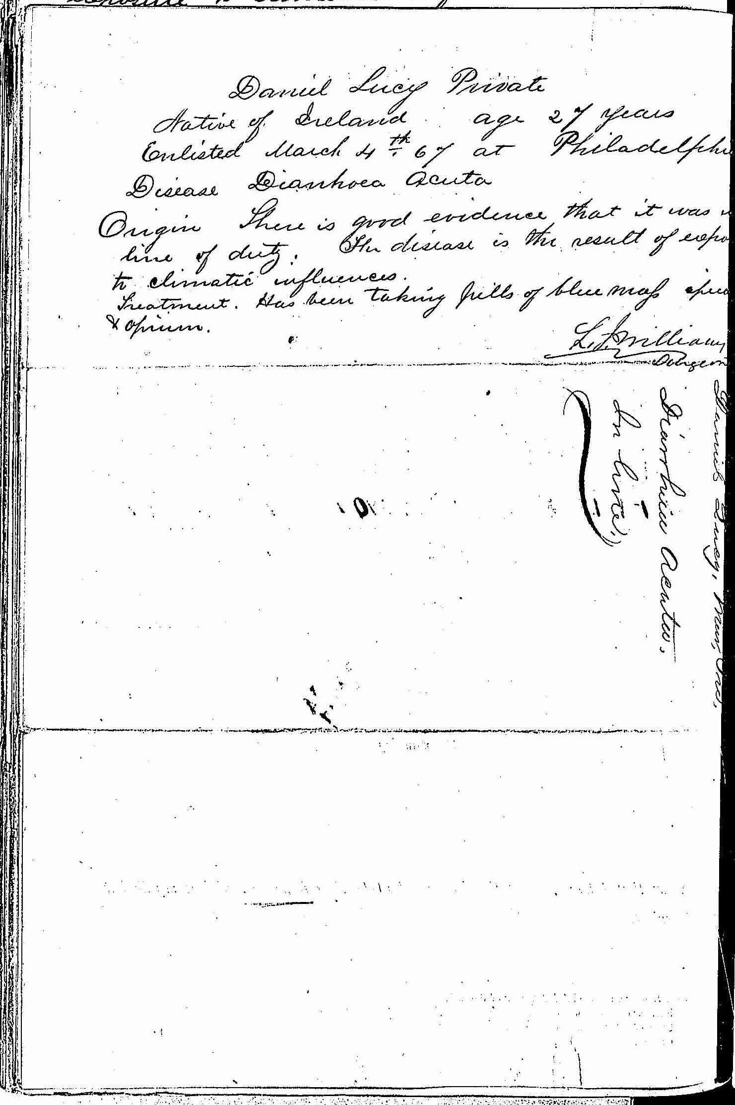 Entry for Daniel Lucy (page 2 of 2) in the log Hospital Tickets and Case Papers - Naval Hospital - Washington, D.C. - 1866-68