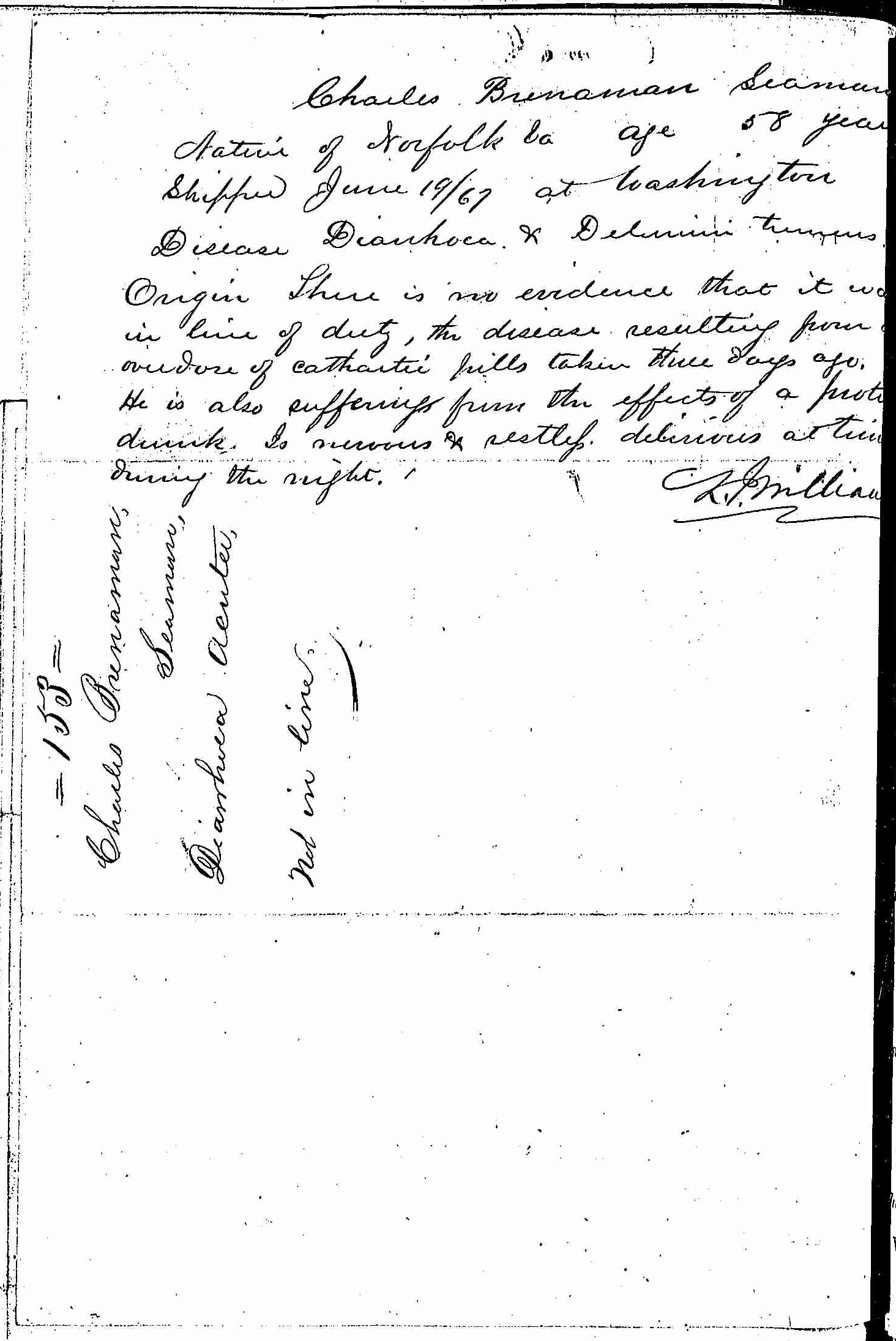 Entry for Charles Brenaman (page 2 of 2) in the log Hospital Tickets and Case Papers - Naval Hospital - Washington, D.C. - 1866-68