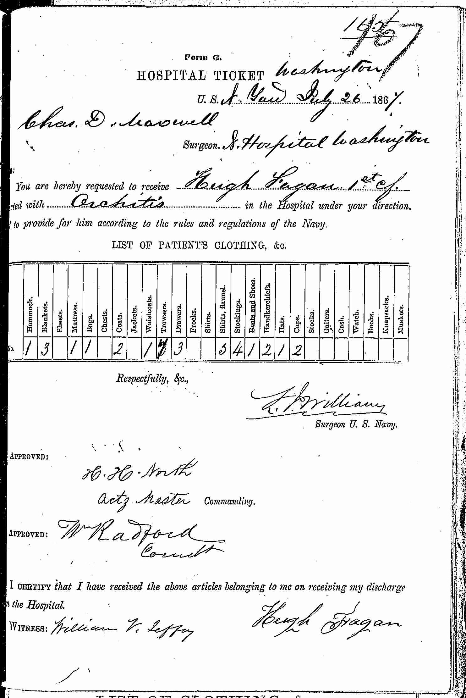 Entry for Hugh Fagan (page 1 of 2) in the log Hospital Tickets and Case Papers - Naval Hospital - Washington, D.C. - 1866-68