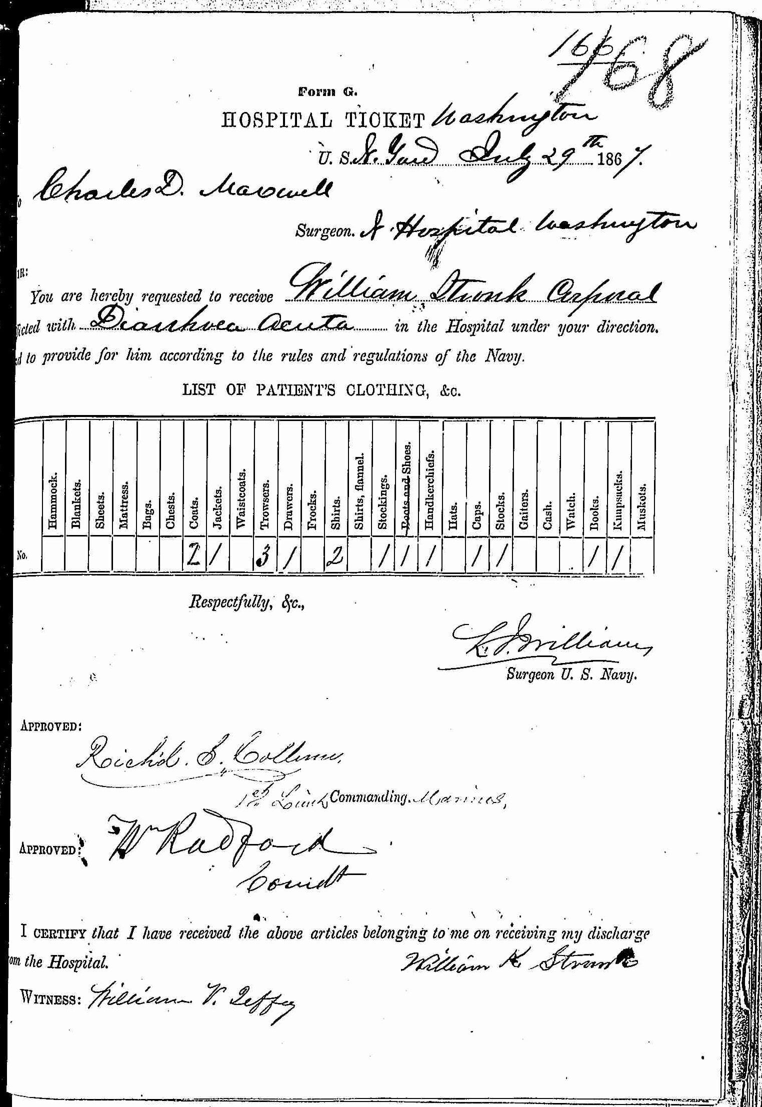 Entry for William Stonk (page 1 of 2) in the log Hospital Tickets and Case Papers - Naval Hospital - Washington, D.C. - 1866-68