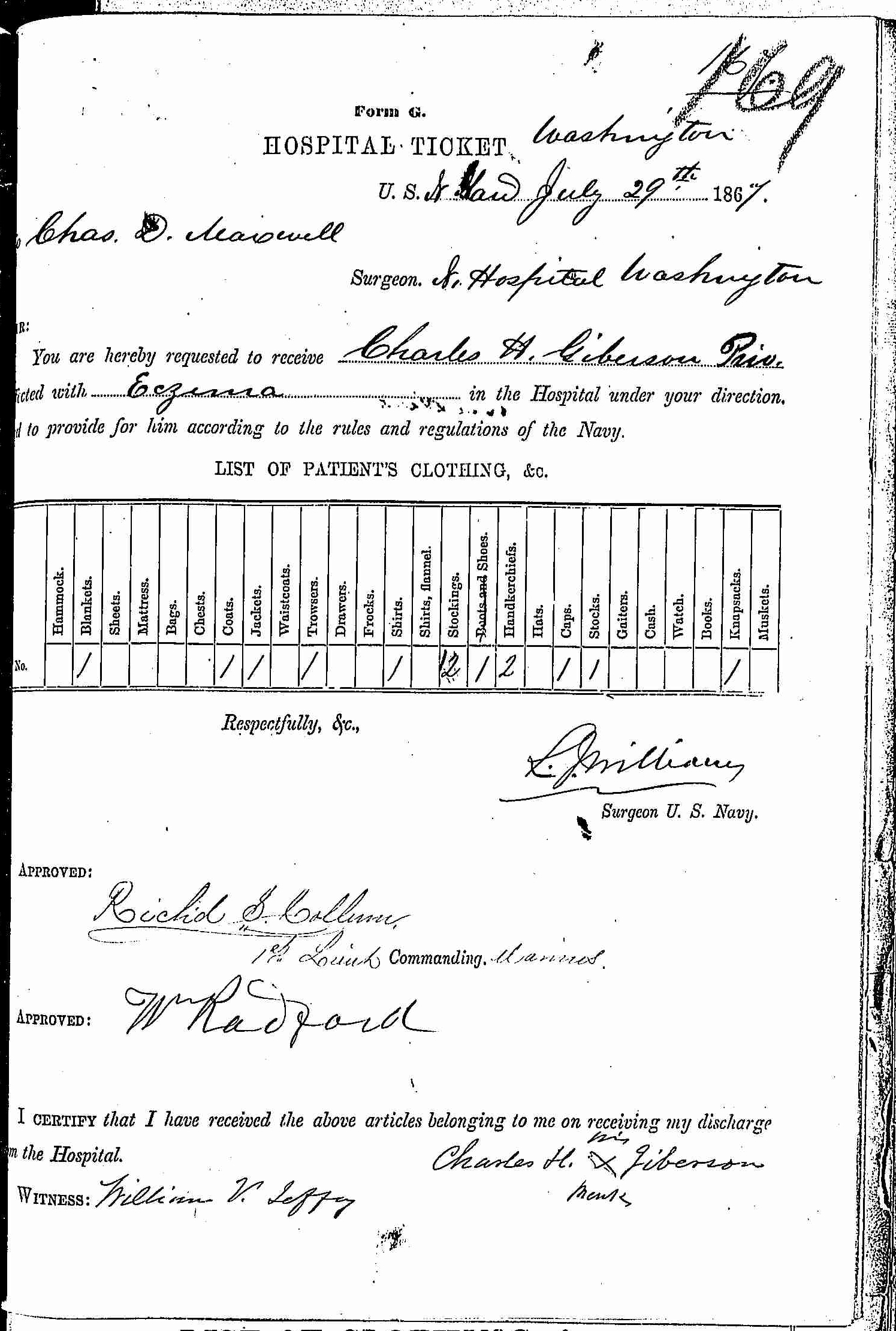 Entry for Charles H. Giberson (second admission page 1 of 2) in the log Hospital Tickets and Case Papers - Naval Hospital - Washington, D.C. - 1866-68
