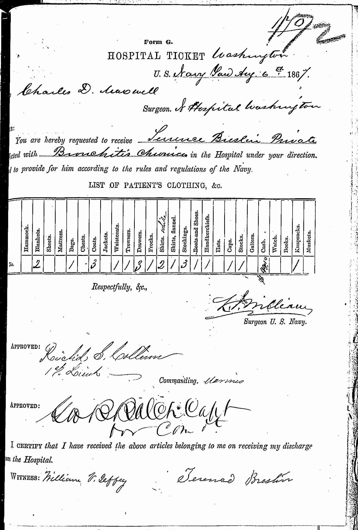 Entry for Terrence Breslin (second admission page 1 of 2) in the log Hospital Tickets and Case Papers - Naval Hospital - Washington, D.C. - 1866-68