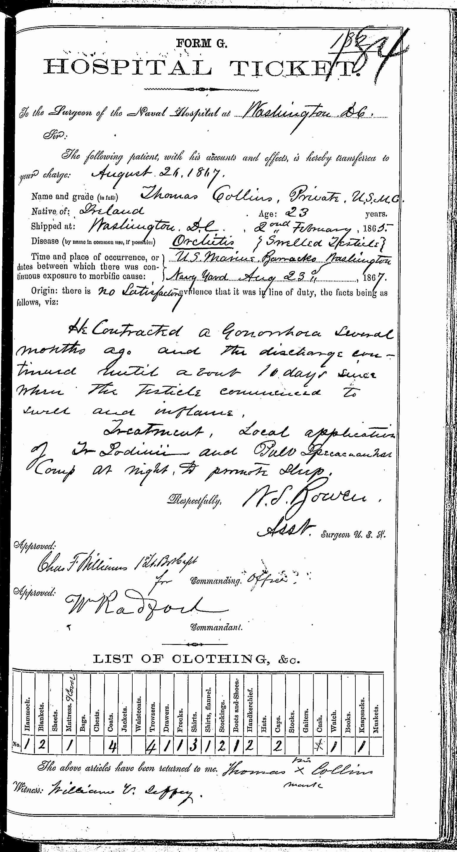 Entry for Thomas Collins (second admission page 2 of 2) in the log Hospital Tickets and Case Papers - Naval Hospital - Washington, D.C. - 1866-68