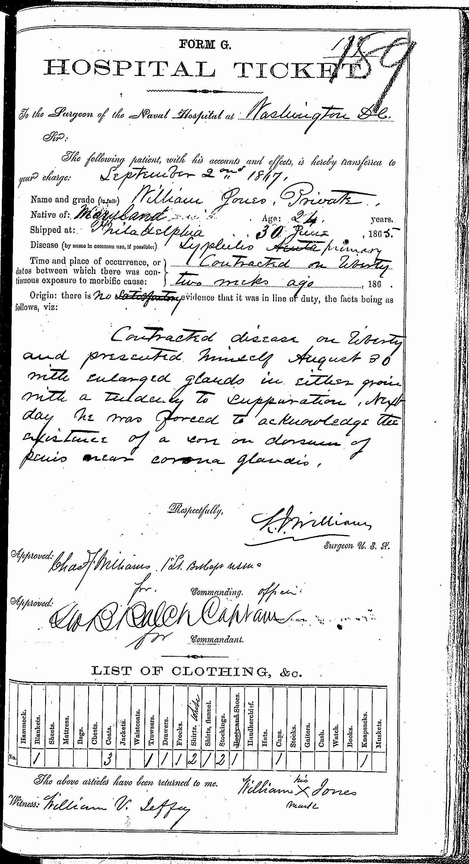 Entry for William Jones (first admission page 1 of 2) in the log Hospital Tickets and Case Papers - Naval Hospital - Washington, D.C. - 1866-68