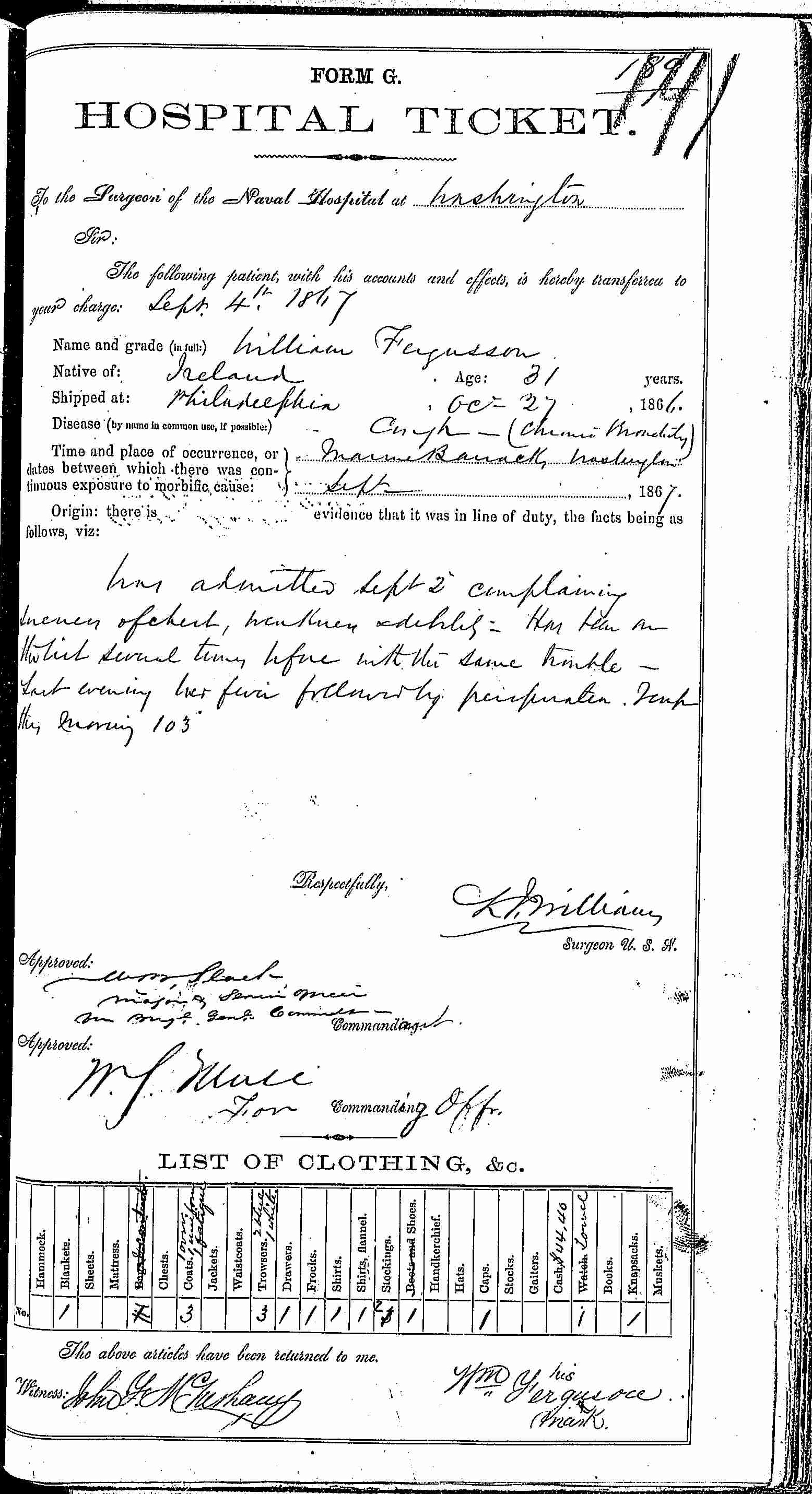 Entry for William Ferguson (page 1 of 2) in the log Hospital Tickets and Case Papers - Naval Hospital - Washington, D.C. - 1866-68