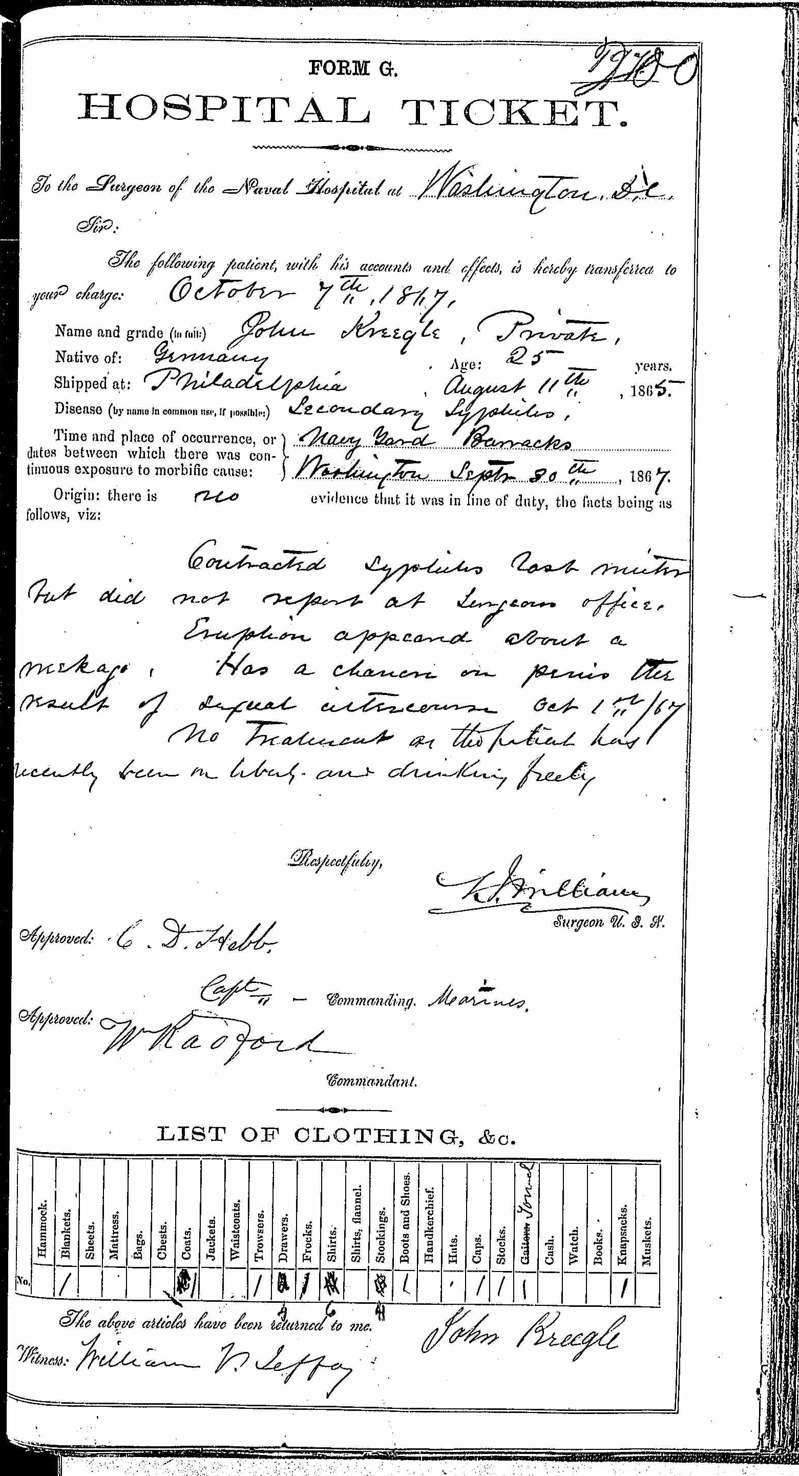 Entry for John Kreegle (page 1 of 2) in the log Hospital Tickets and Case Papers - Naval Hospital - Washington, D.C. - 1866-68