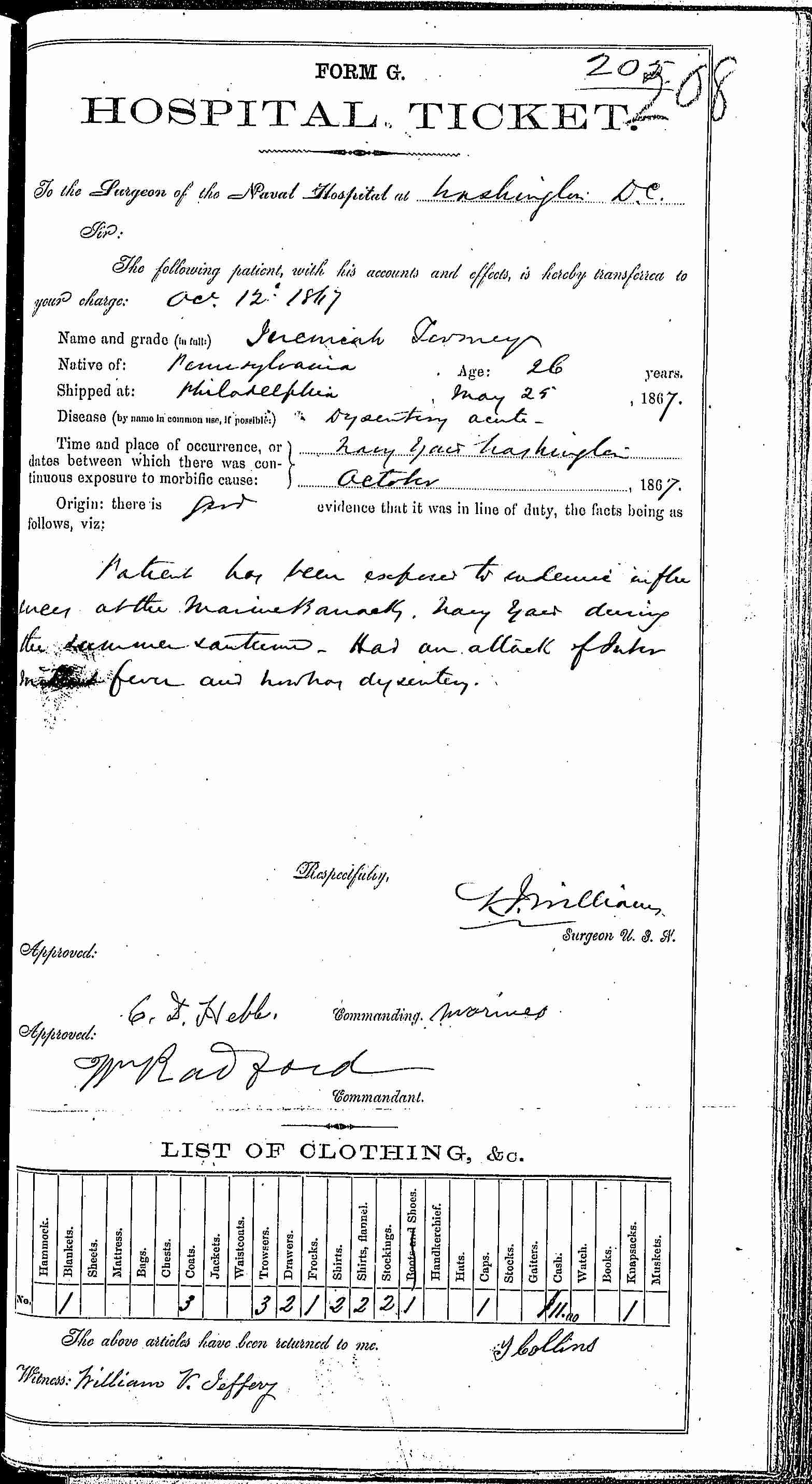 Entry for Jeremiah Tomey (page 1 of 2) in the log Hospital Tickets and Case Papers - Naval Hospital - Washington, D.C. - 1866-68