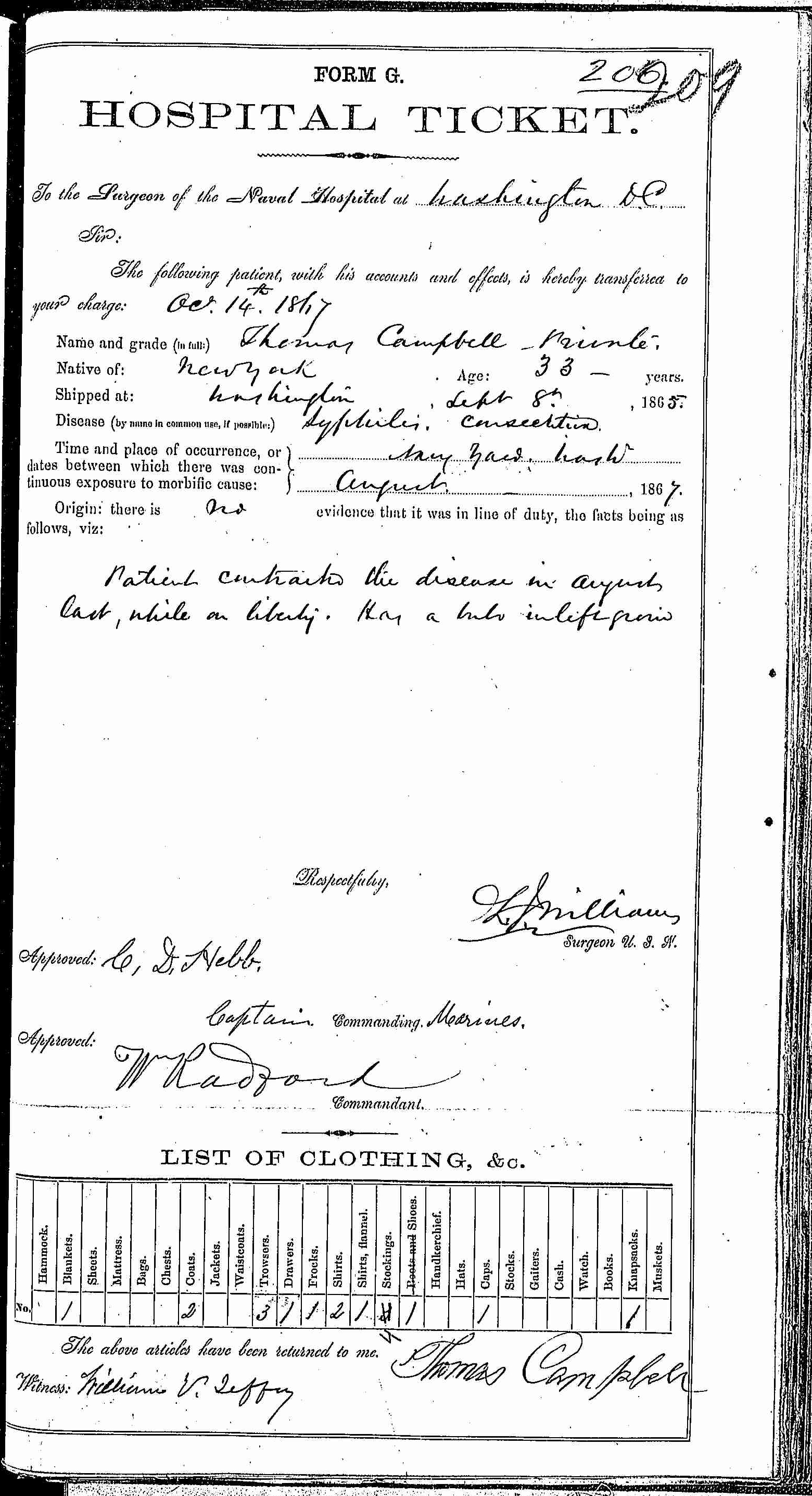 Entry for Thomas Campbell (third admission page 1 of 2) in the log Hospital Tickets and Case Papers - Naval Hospital - Washington, D.C. - 1866-68