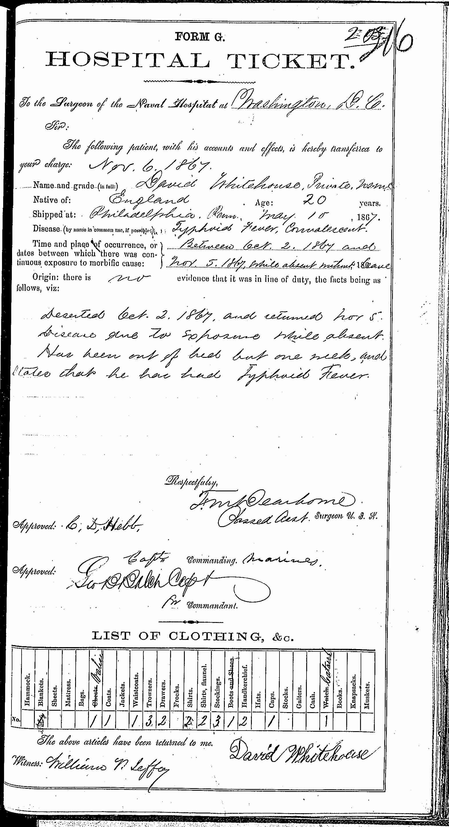 Entry for David Whitehouse (page 1 of 2) in the log Hospital Tickets and Case Papers - Naval Hospital - Washington, D.C. - 1866-68