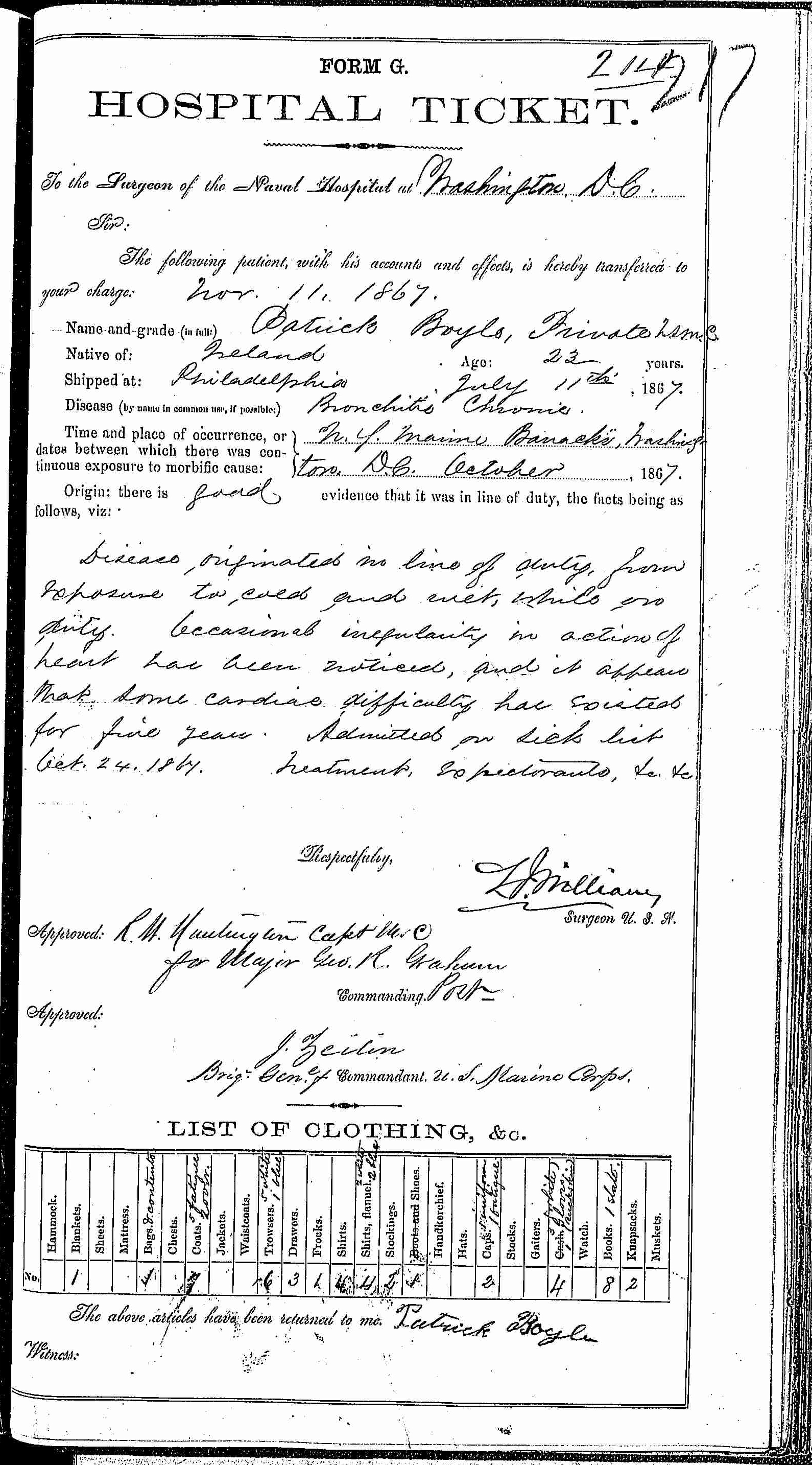 Entry for Patrick Boyle (page 1 of 2) in the log Hospital Tickets and Case Papers - Naval Hospital - Washington, D.C. - 1866-68