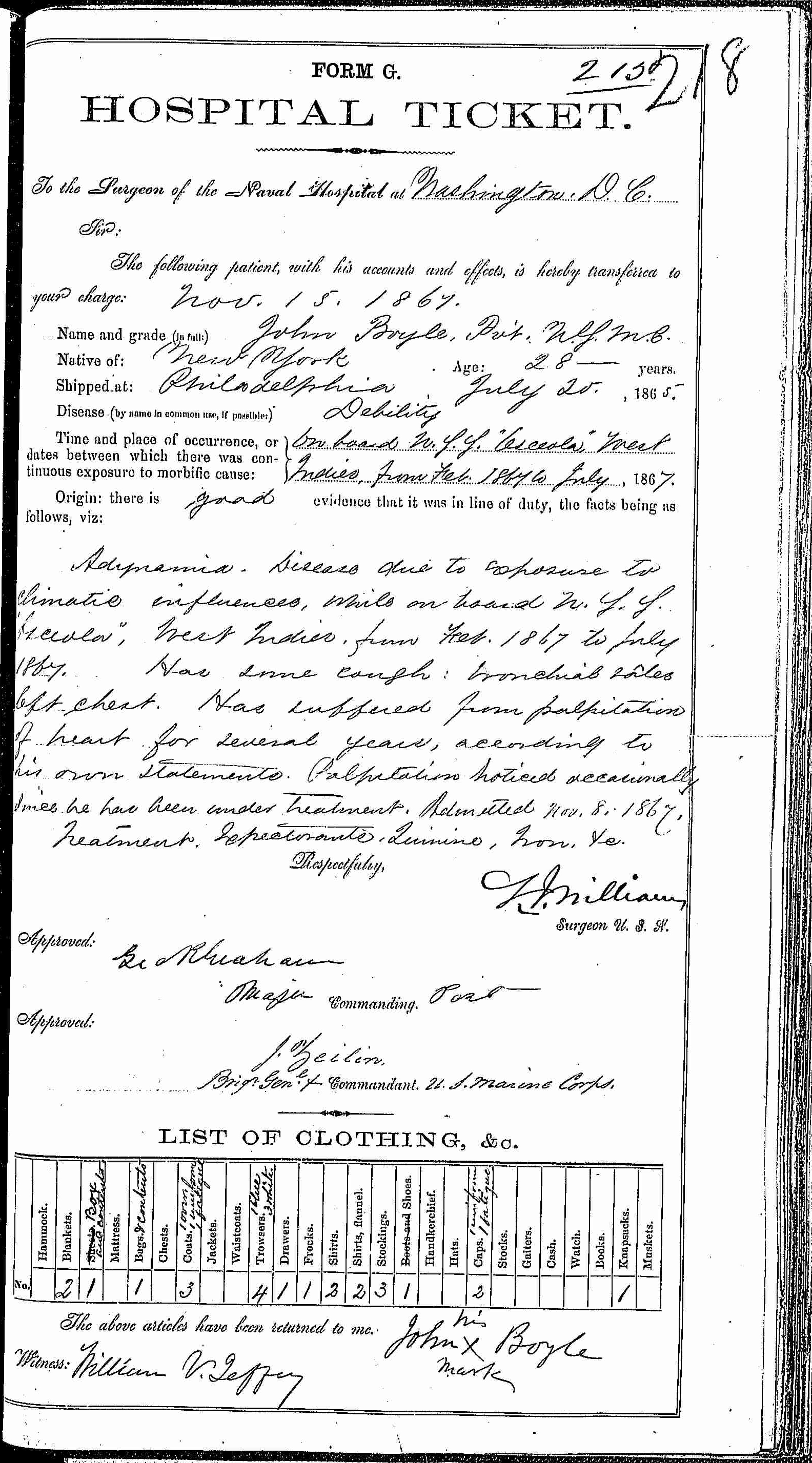 Entry for John Boyle (page 1 of 2) in the log Hospital Tickets and Case Papers - Naval Hospital - Washington, D.C. - 1866-68