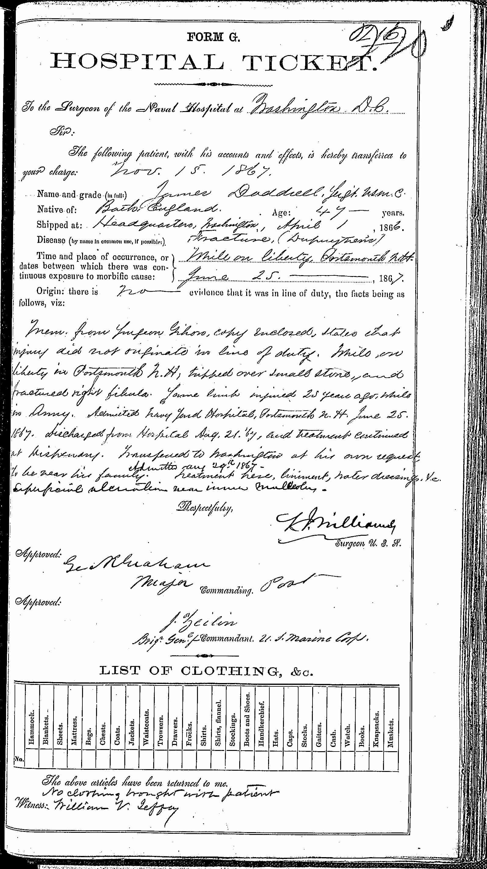 Entry for James Doddrell (second admission page 1 of 2) in the log Hospital Tickets and Case Papers - Naval Hospital - Washington, D.C. - 1866-68