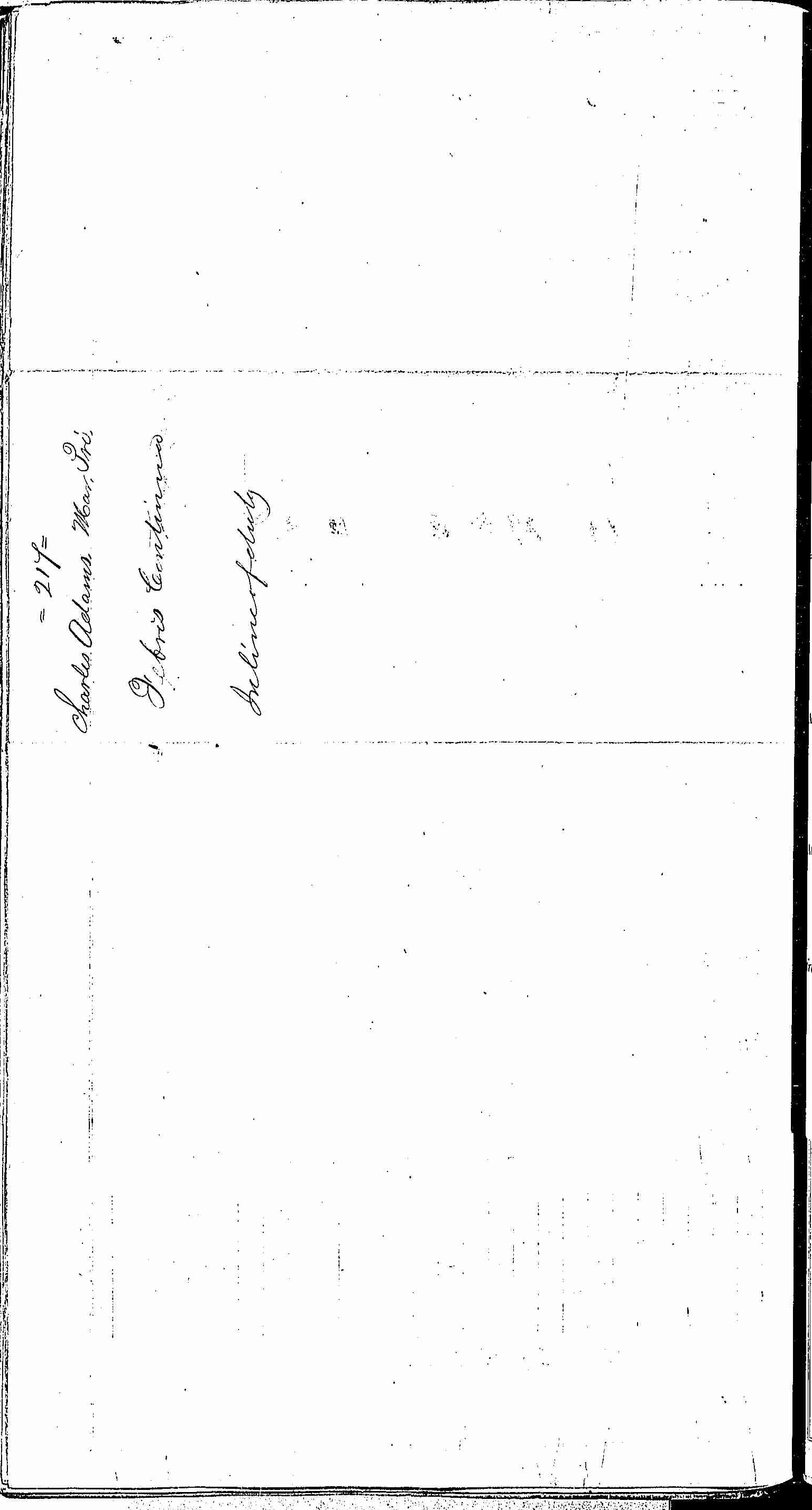 Entry for Charles Adams (page 2 of 2) in the log Hospital Tickets and Case Papers - Naval Hospital - Washington, D.C. - 1866-68