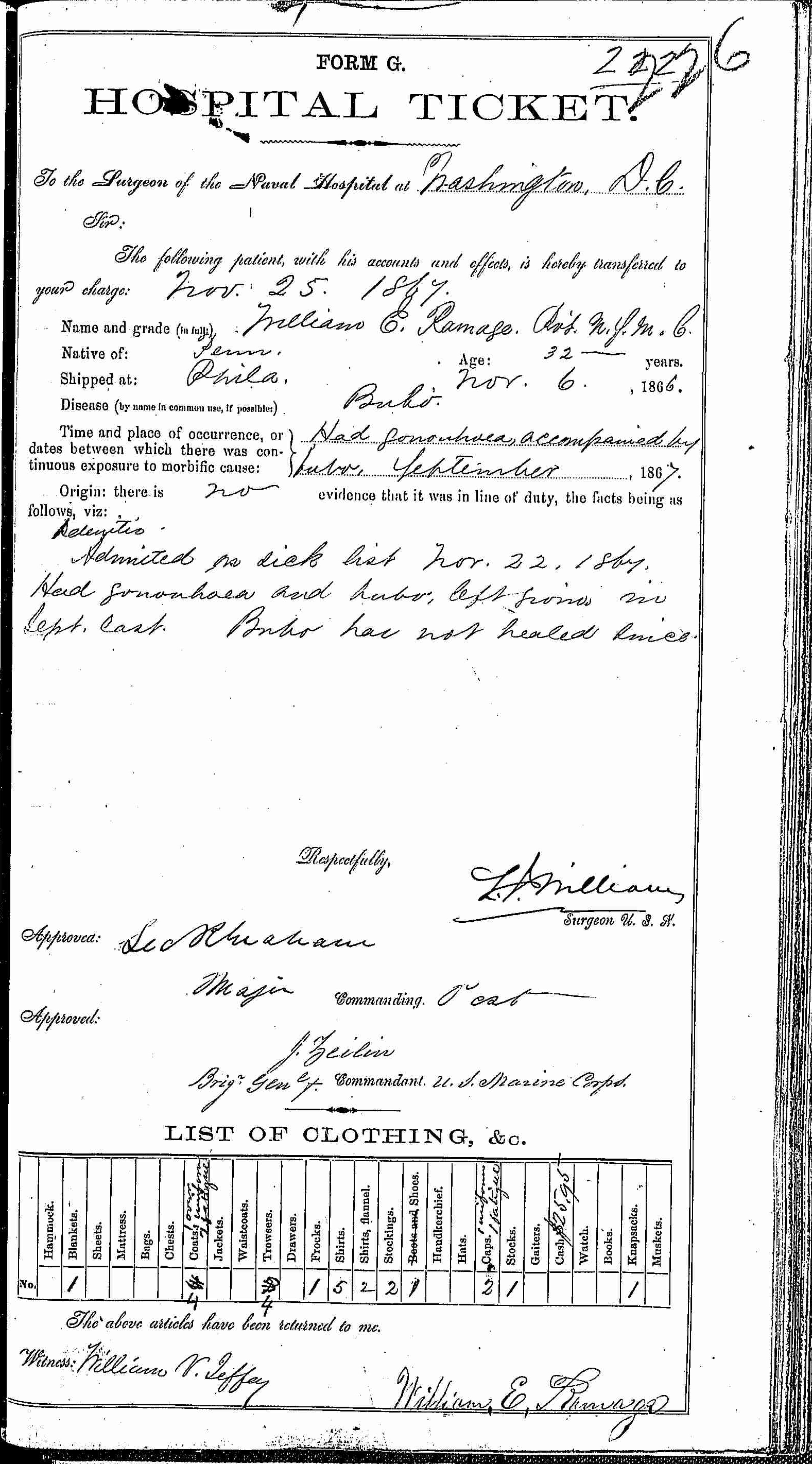 Entry for William E. Ramage (page 1 of 2) in the log Hospital Tickets and Case Papers - Naval Hospital - Washington, D.C. - 1866-68