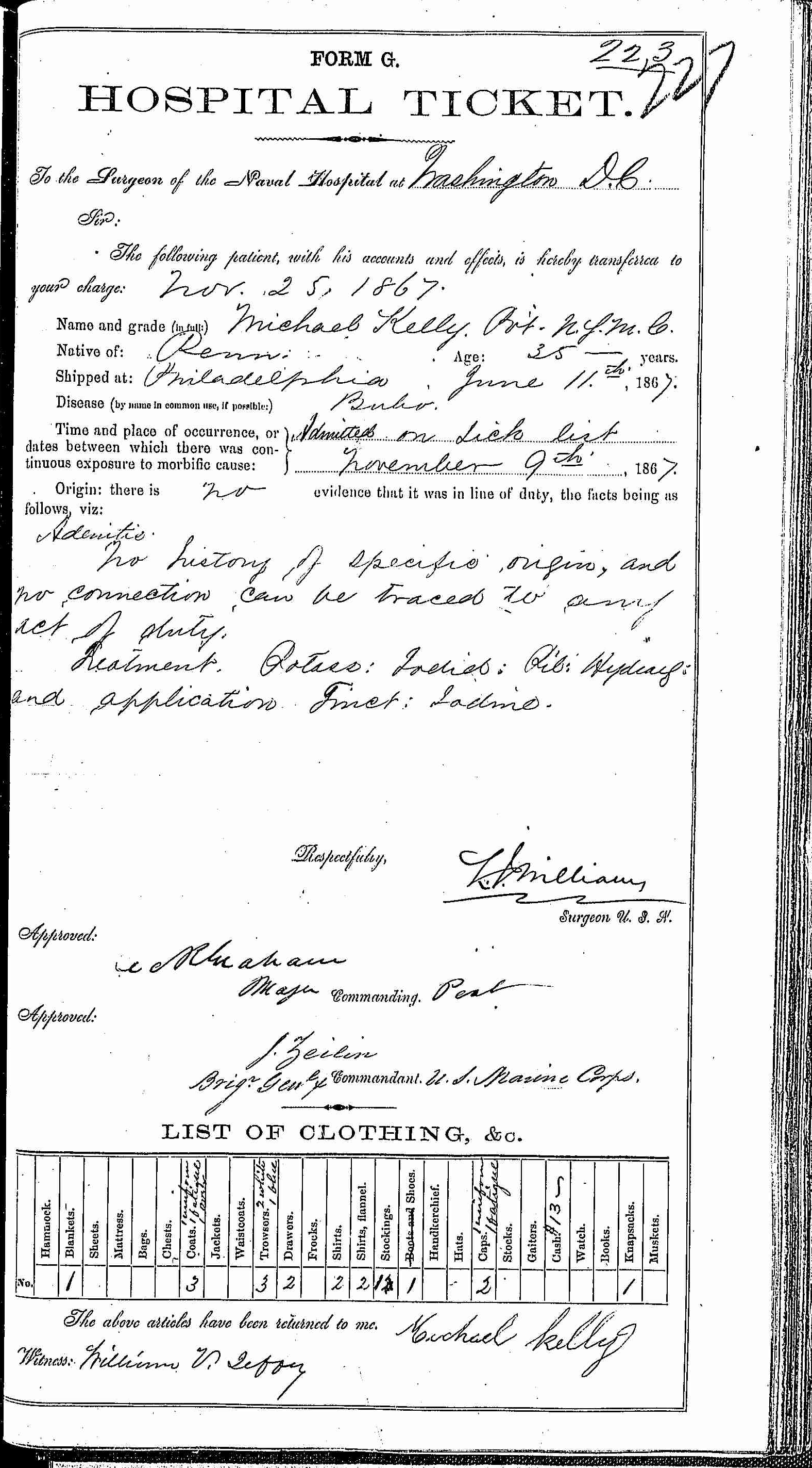 Entry for Michael Kelly (page 1 of 2) in the log Hospital Tickets and Case Papers - Naval Hospital - Washington, D.C. - 1866-68