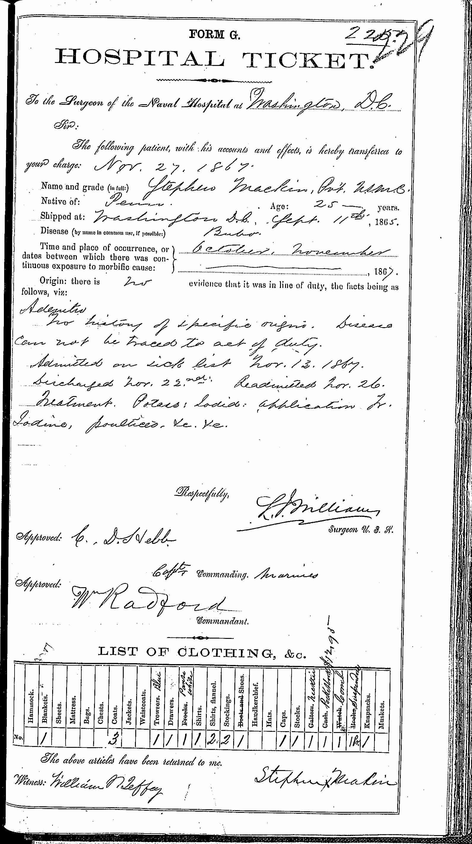 Entry for Stephen Mackin (page 1 of 2) in the log Hospital Tickets and Case Papers - Naval Hospital - Washington, D.C. - 1866-68