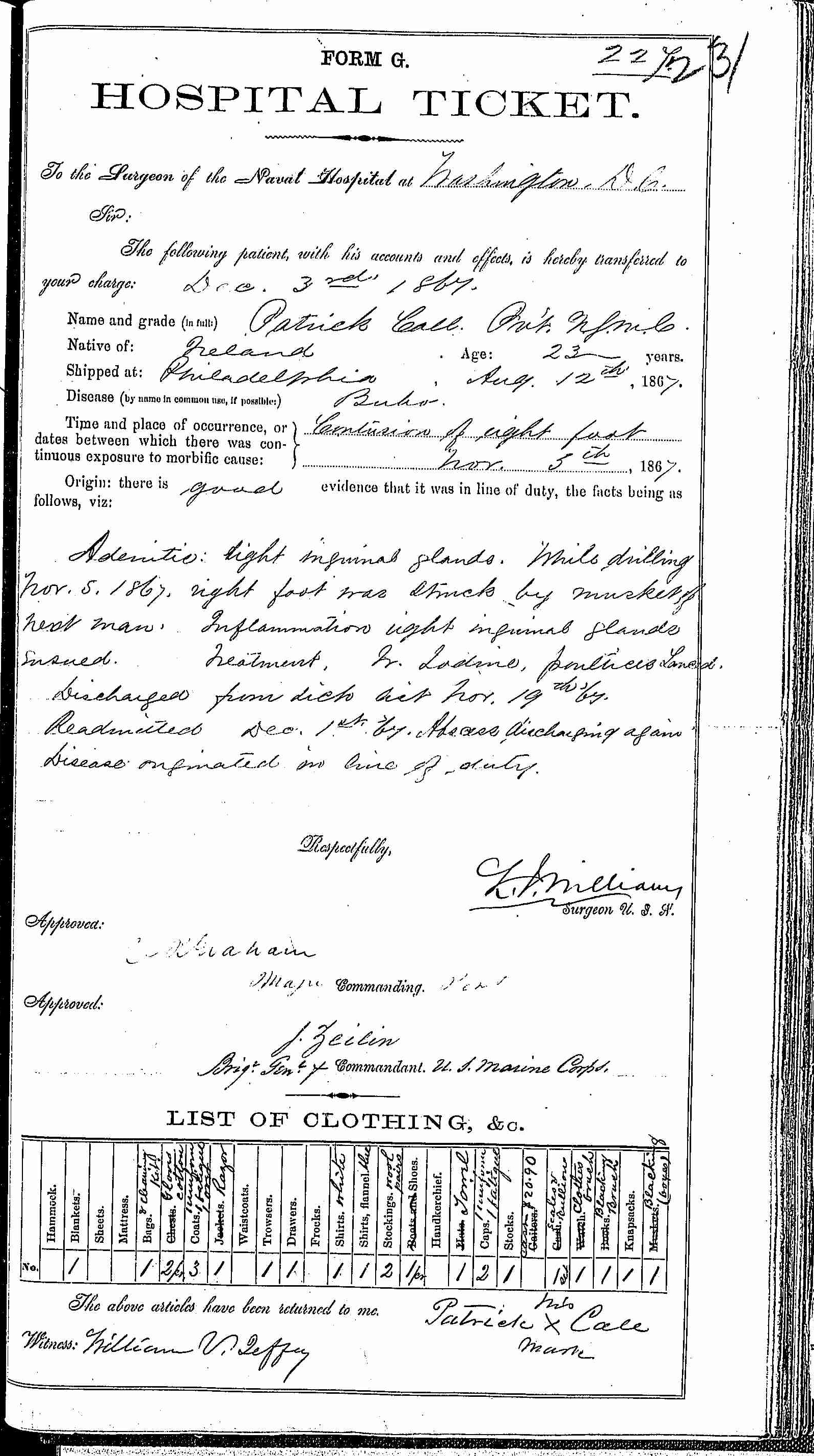 Entry for Patrick Call (page 1 of 2) in the log Hospital Tickets and Case Papers - Naval Hospital - Washington, D.C. - 1866-68