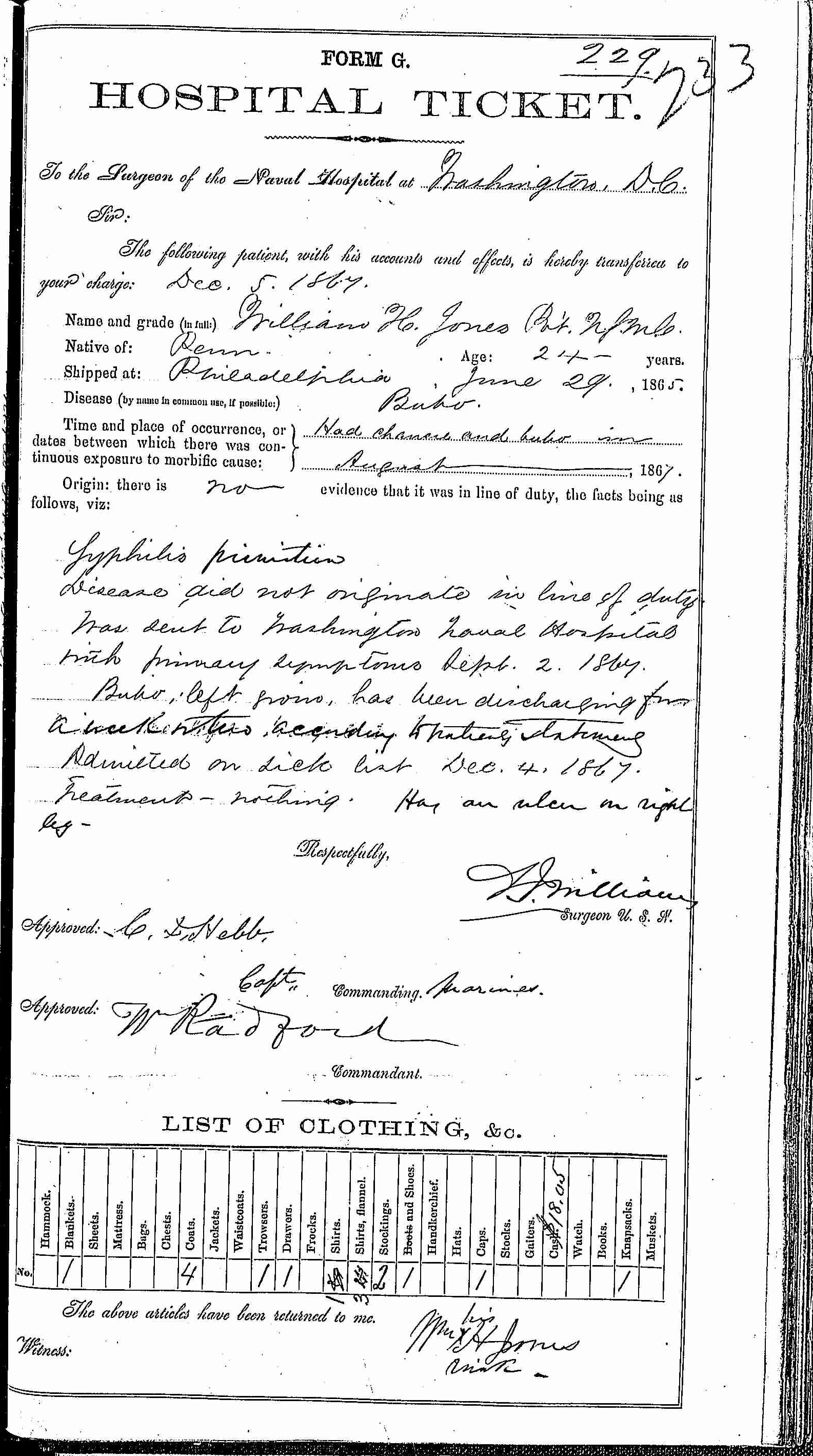 Entry for William H. Jones (page 1 of 2) in the log Hospital Tickets and Case Papers - Naval Hospital - Washington, D.C. - 1866-68