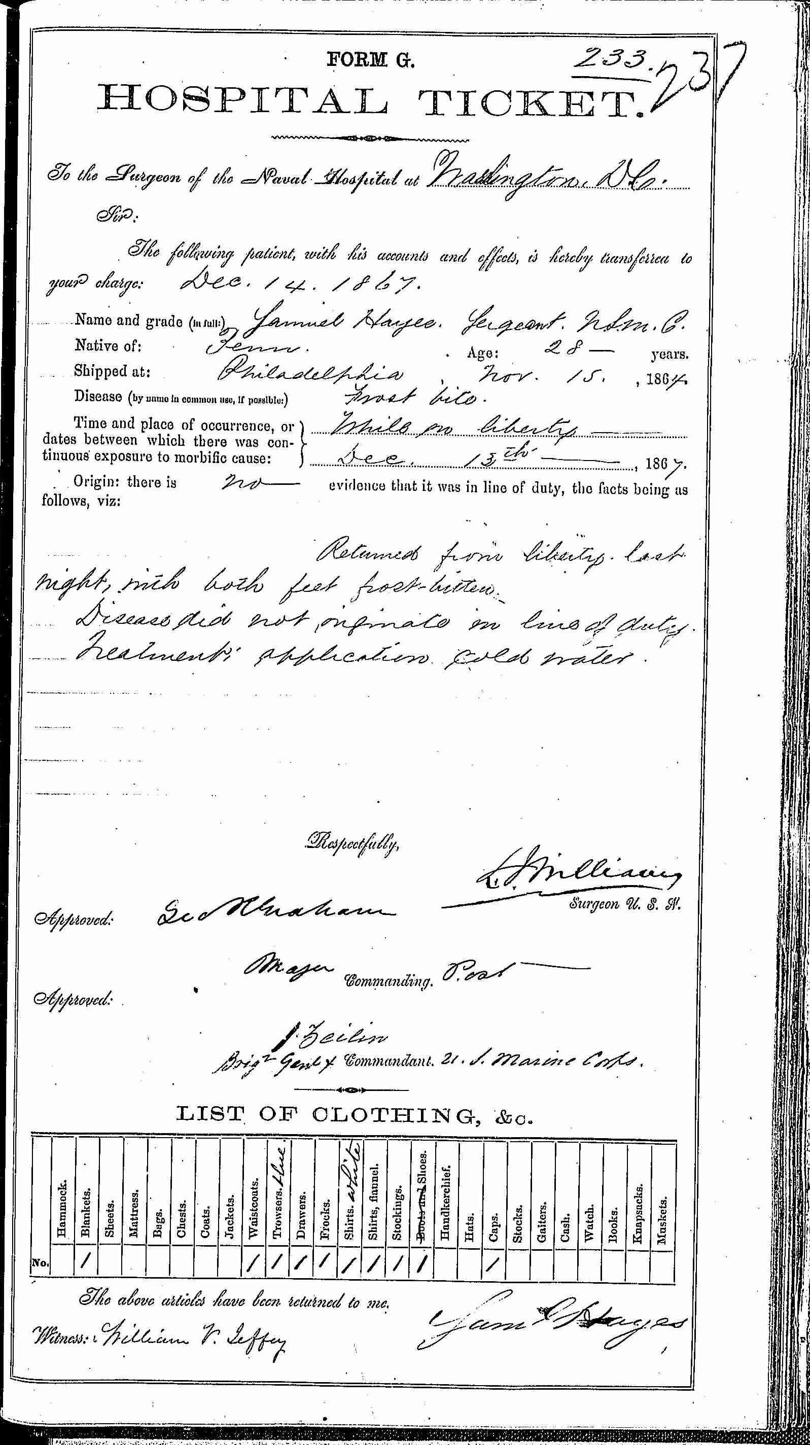 Entry for Samuel Hayes (second admission page 1 of 2) in the log Hospital Tickets and Case Papers - Naval Hospital - Washington, D.C. - 1866-68