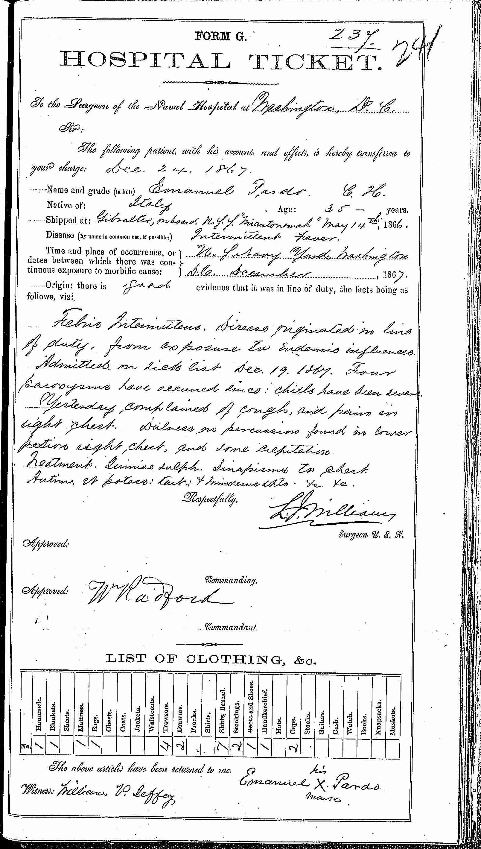 Entry for Emanuel Pardo (page 1 of 2) in the log Hospital Tickets and Case Papers - Naval Hospital - Washington, D.C. - 1866-68