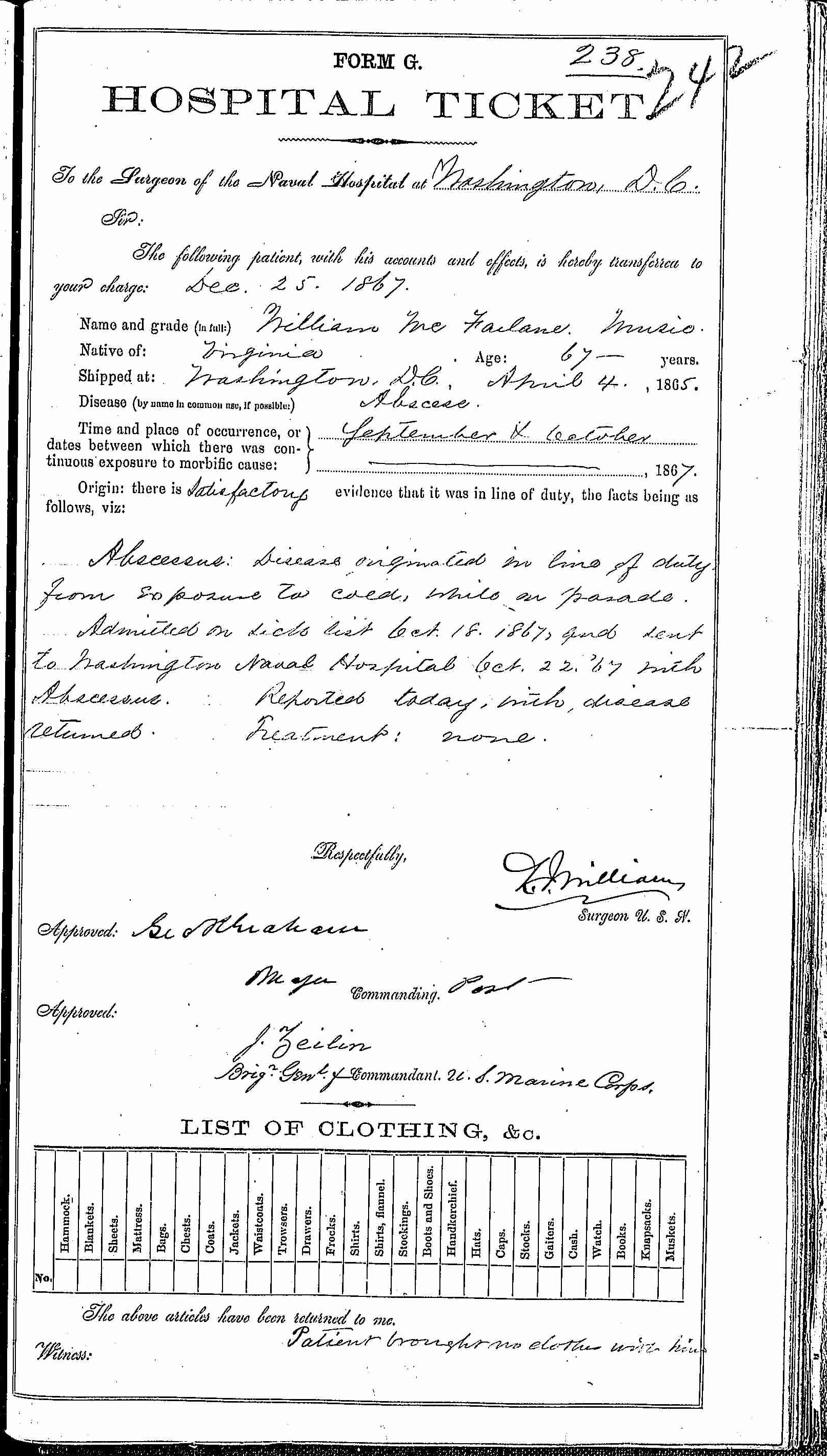 Entry for William McFarlane (second admission page 1 of 2) in the log Hospital Tickets and Case Papers - Naval Hospital - Washington, D.C. - 1866-68